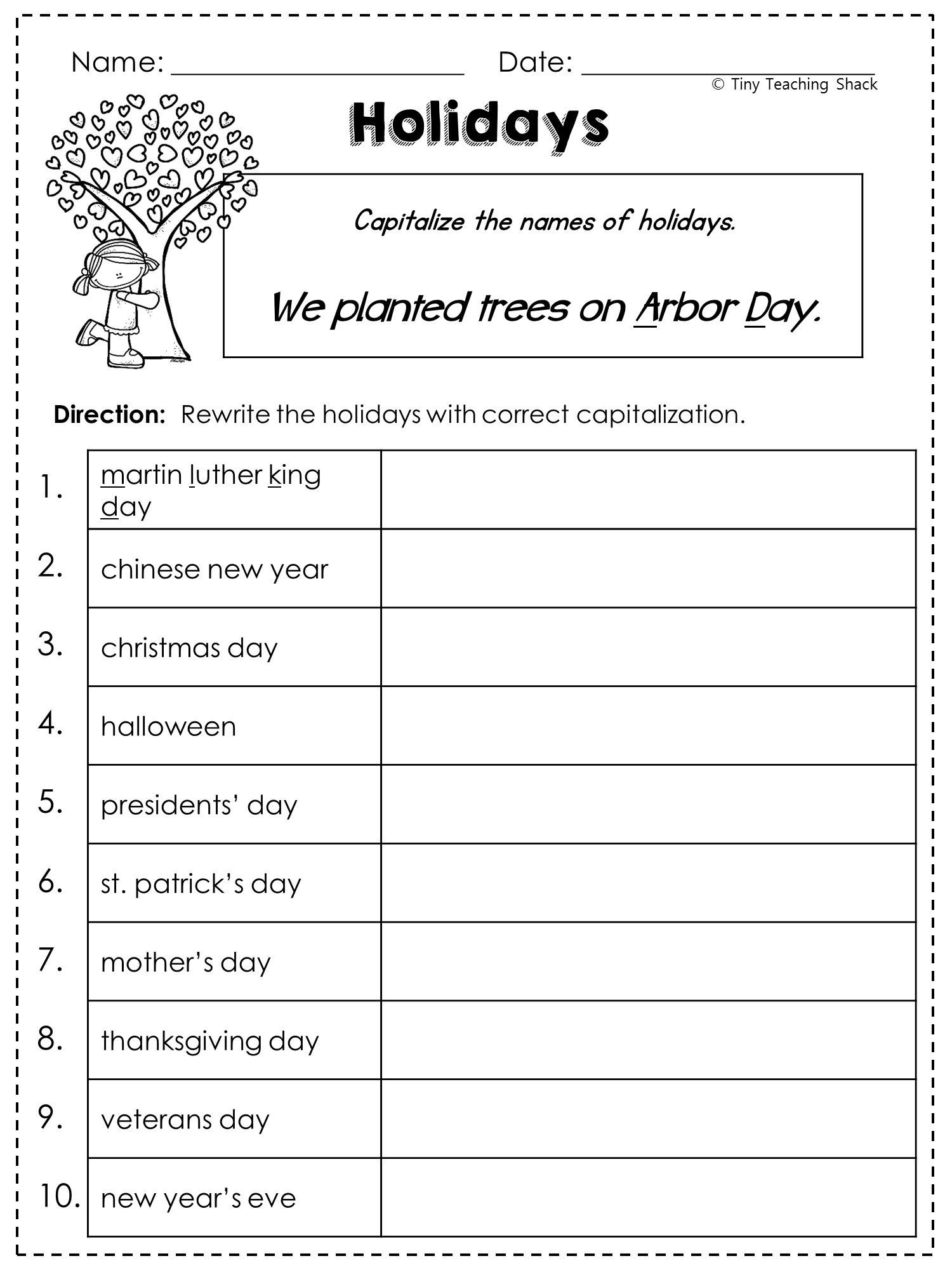 1st Grade Capitalization Worksheets 2nd Grade Language Arts and Grammar Practice Sheets Freebie