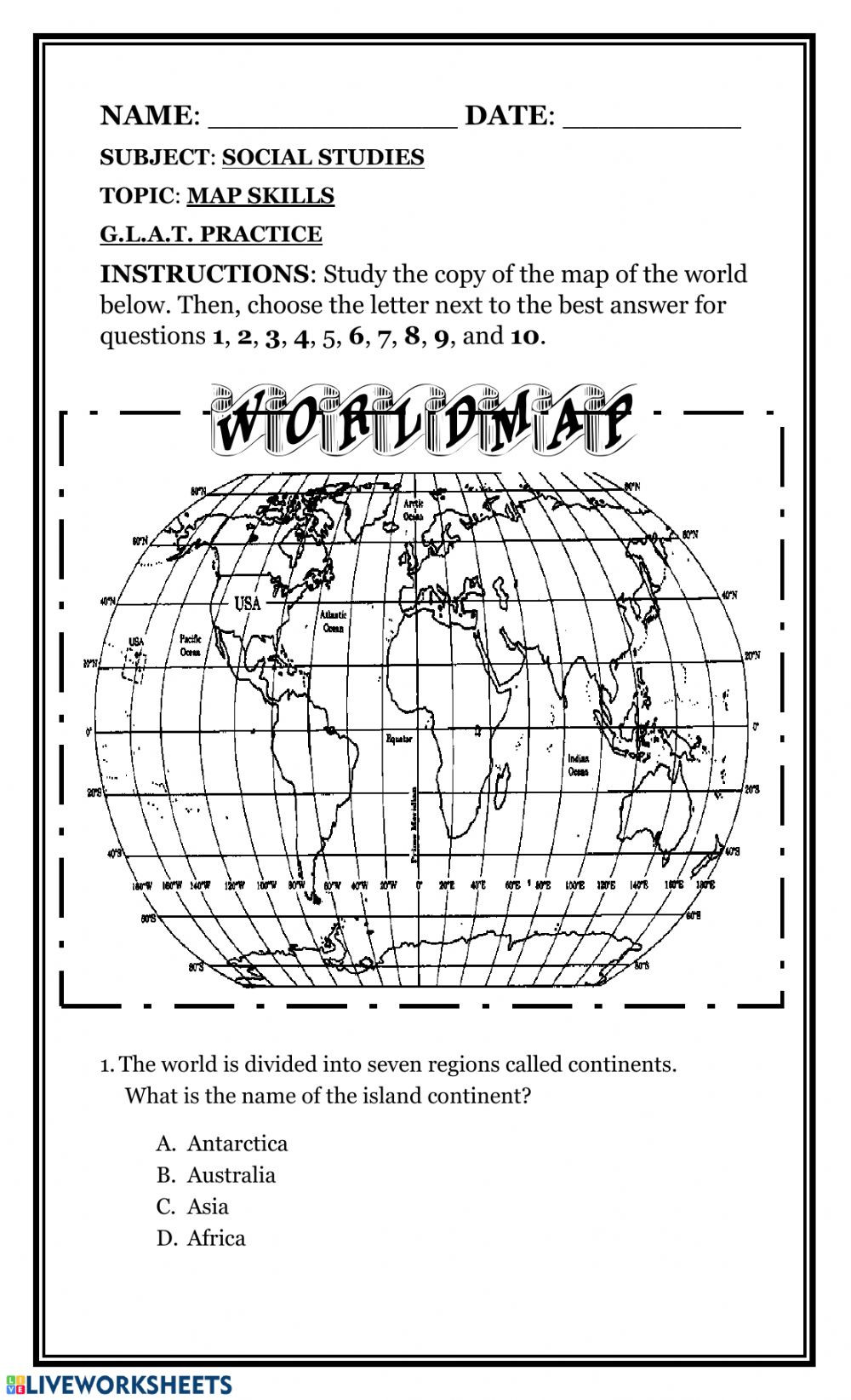 1st Grade Map Skills Worksheets Map Skills Interactive Worksheet