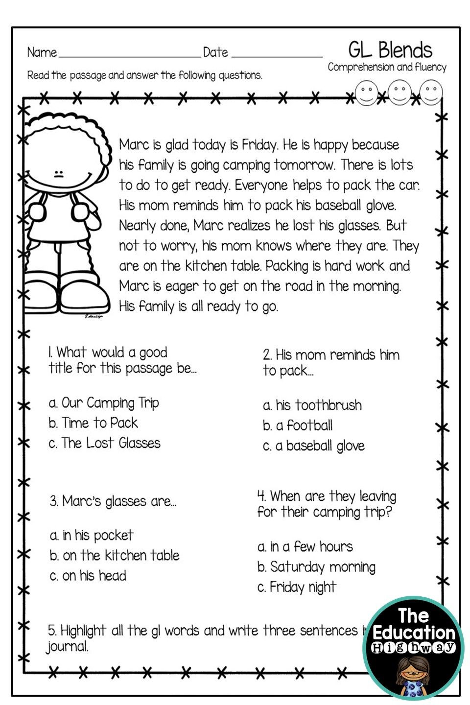 1st Grade Reading Fluency Worksheets Gl Blends