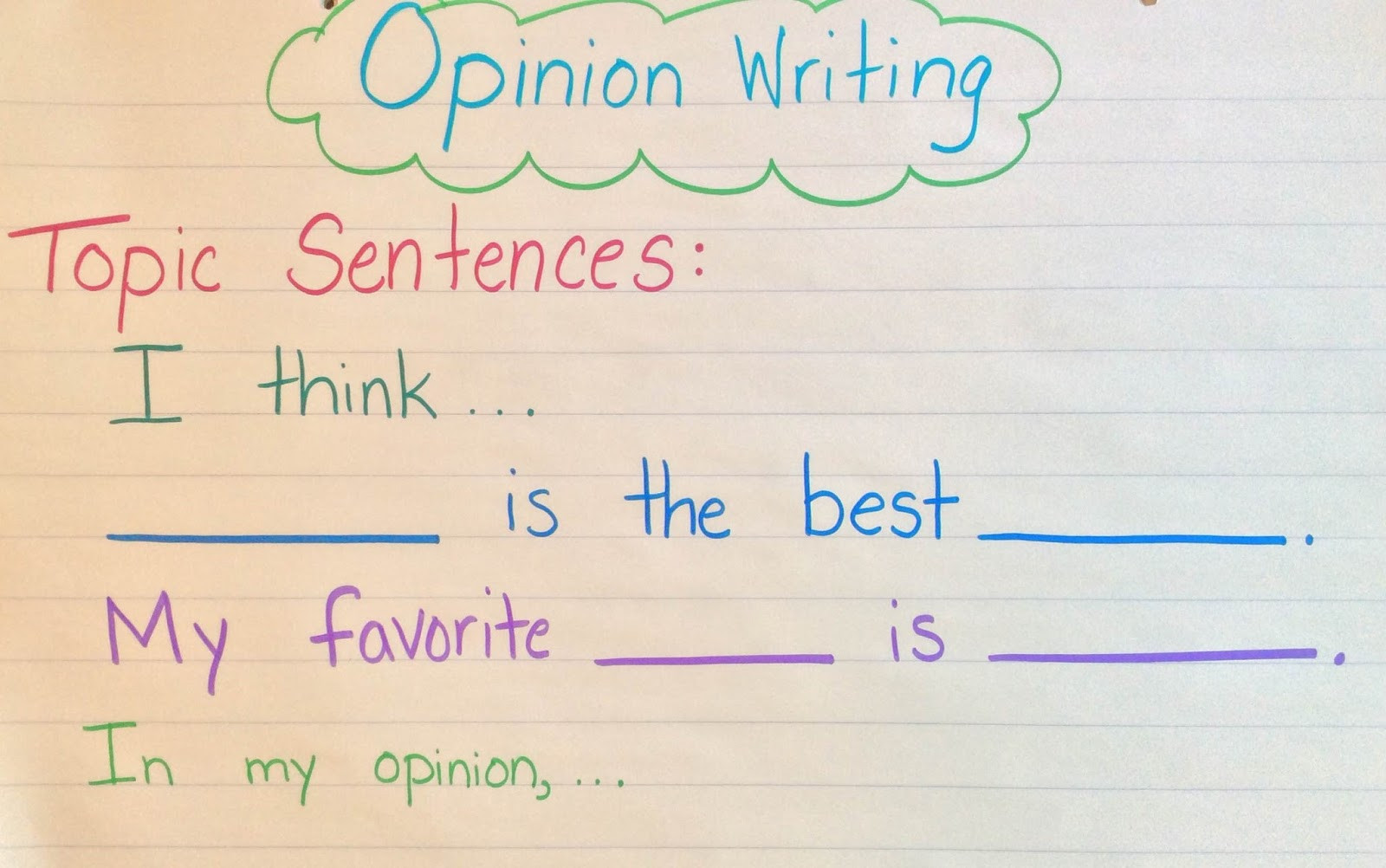 1st Grade Sentence Starters First Grade Centers and More Opinion Writing