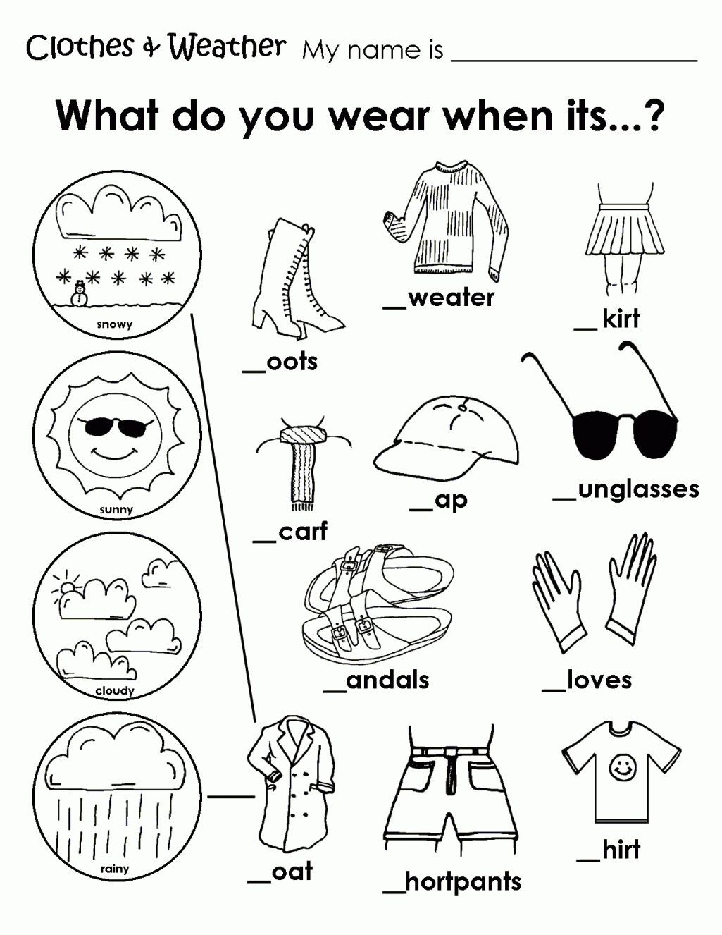 1st Grade Weather Worksheets Printable Weather Clothes Worksheet