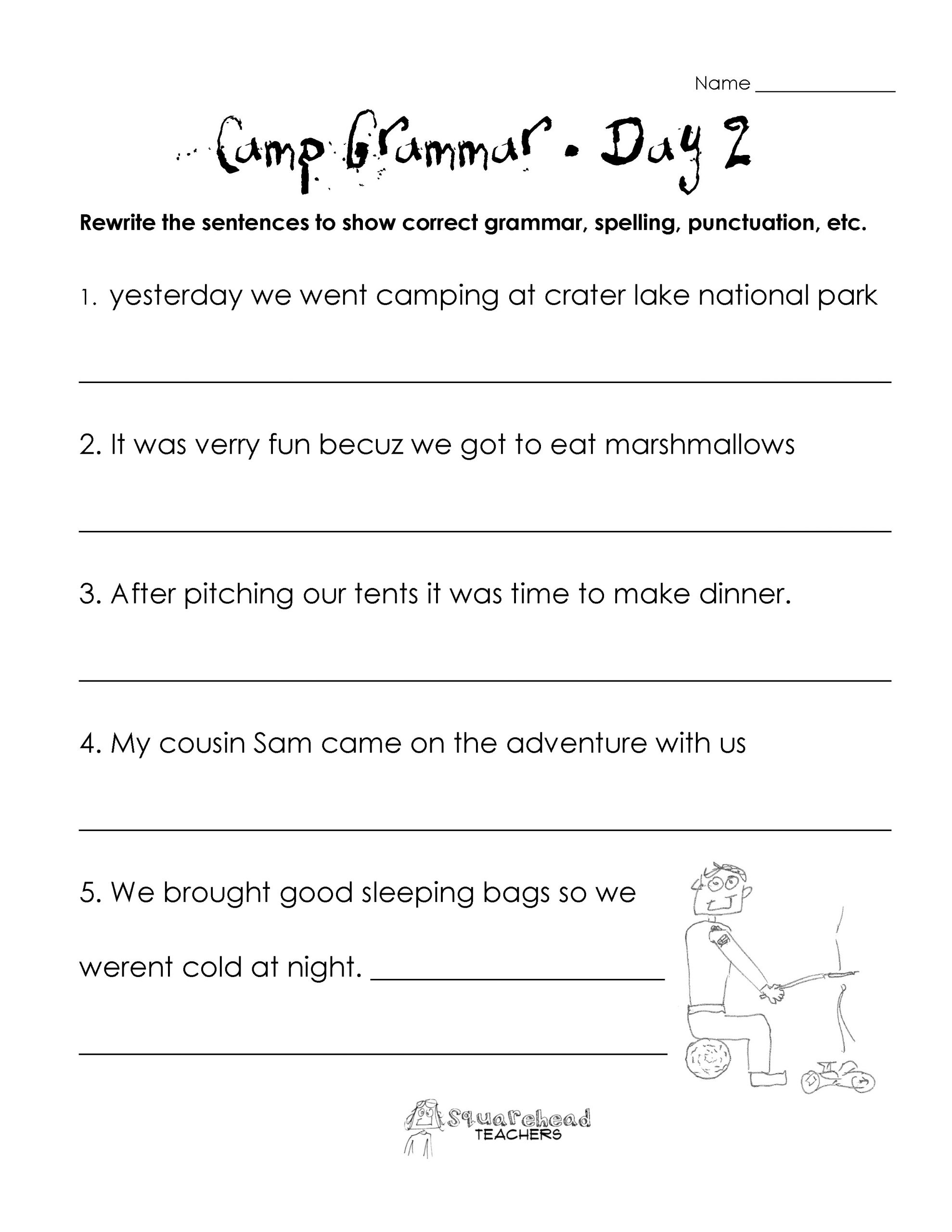 2nd Grade Grammar Worksheets Free Grammar Worksheets Preschool