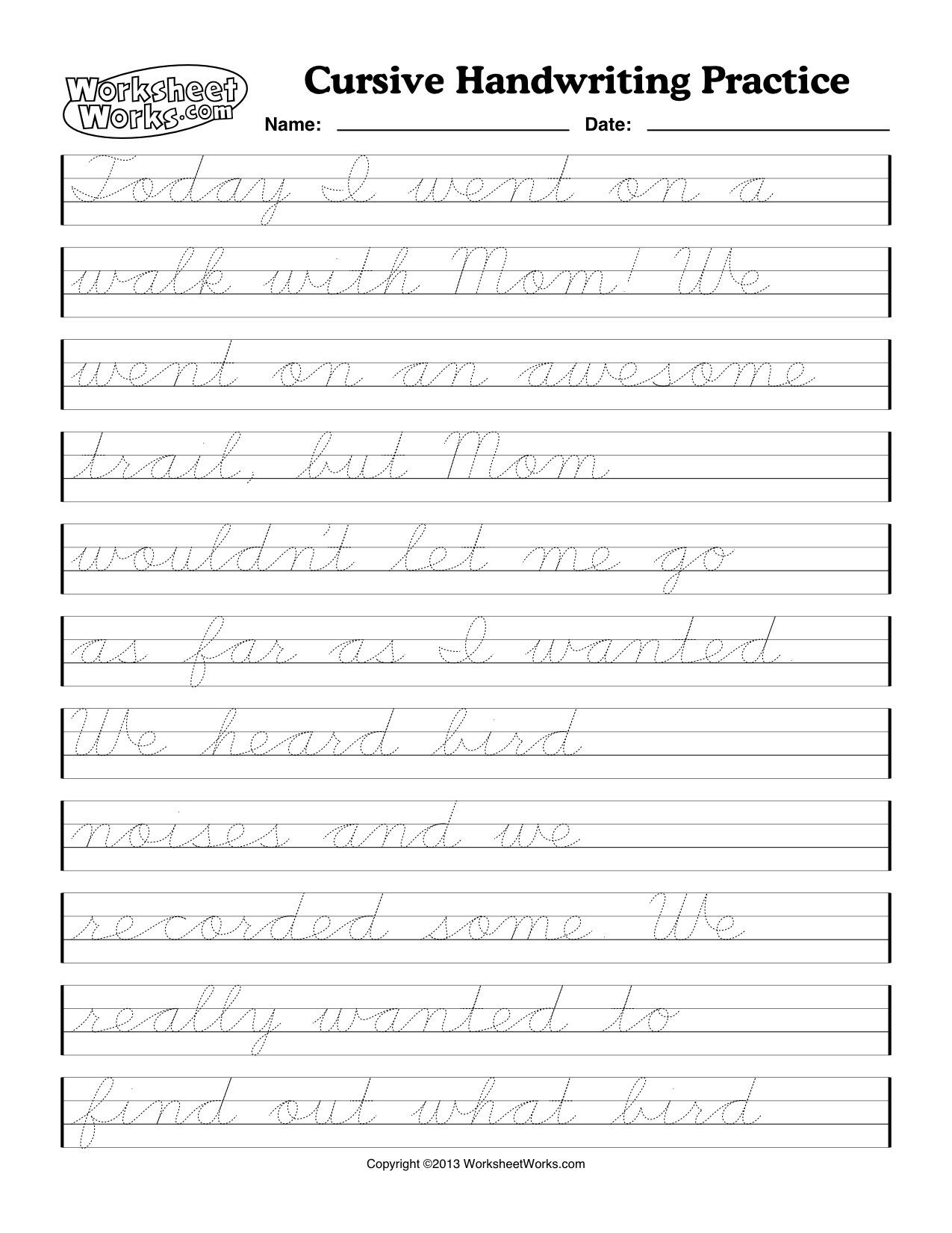2nd Grade Handwriting Worksheets Pdf Cursive Handwriting Worksheets