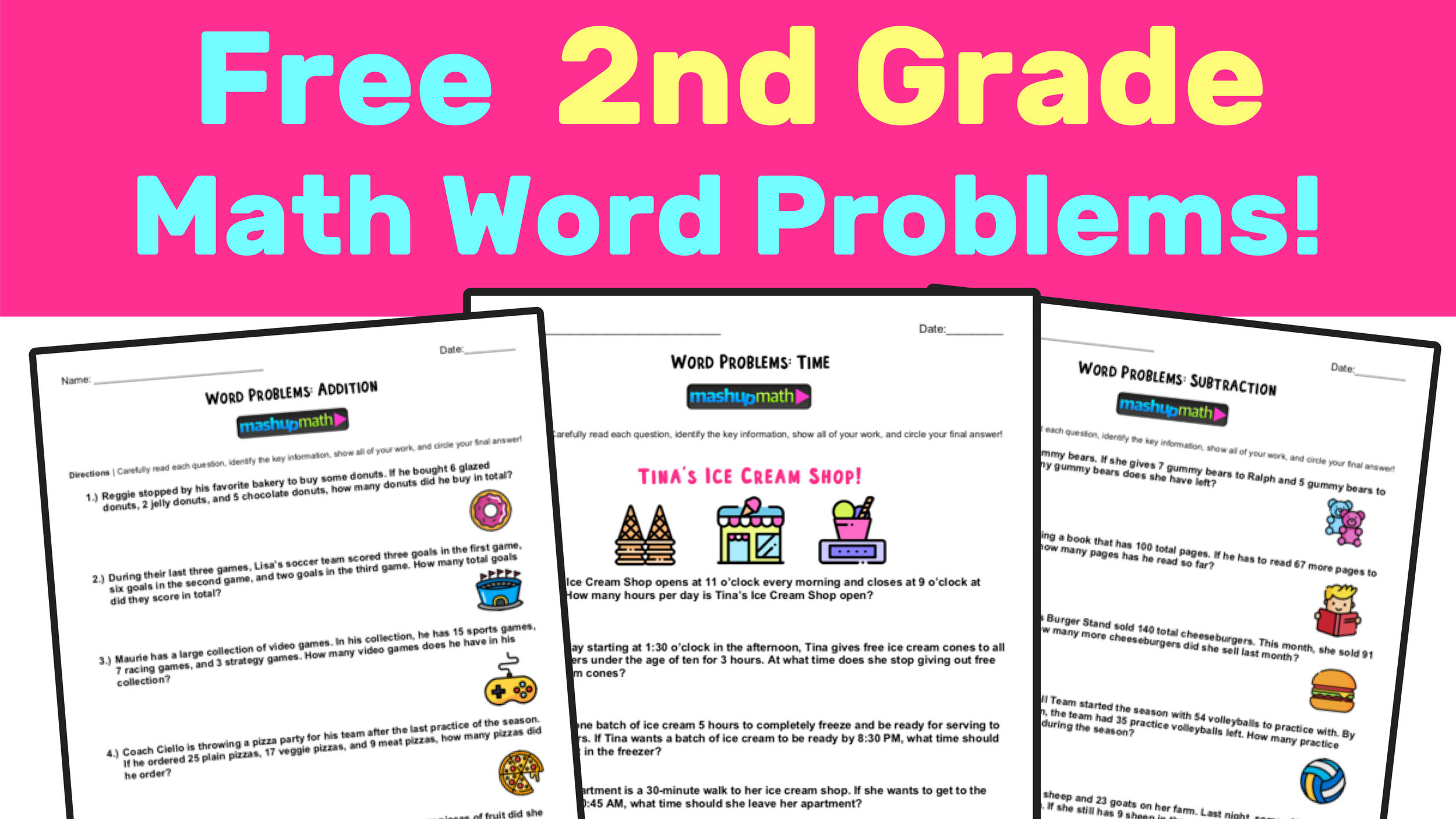 2nd Grade Math Worksheets Measurement Free 2nd Grade Math Word Problem Worksheets — Mashup Math