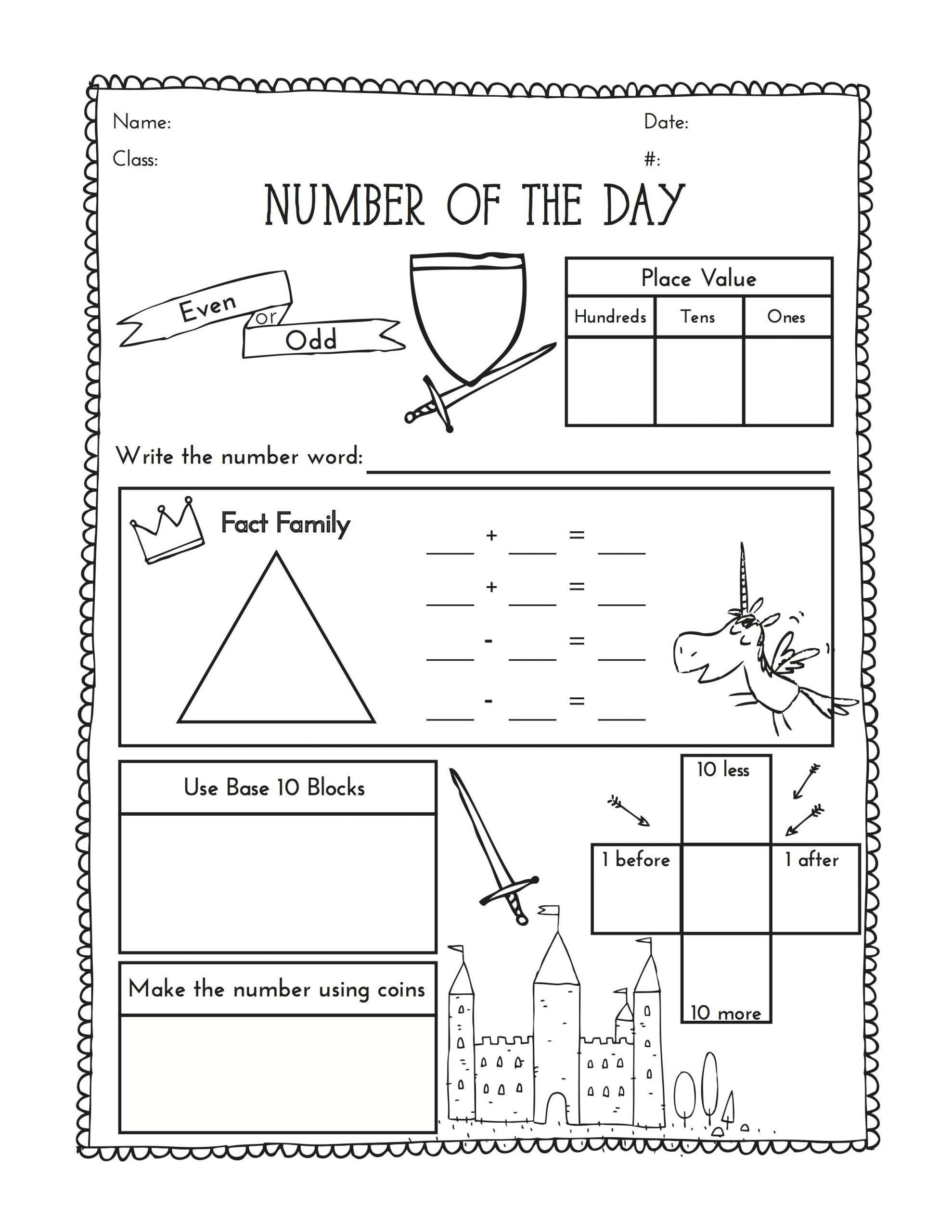 2nd Grade Minute Math Worksheets Second Grade Number Of the Day Worksheet