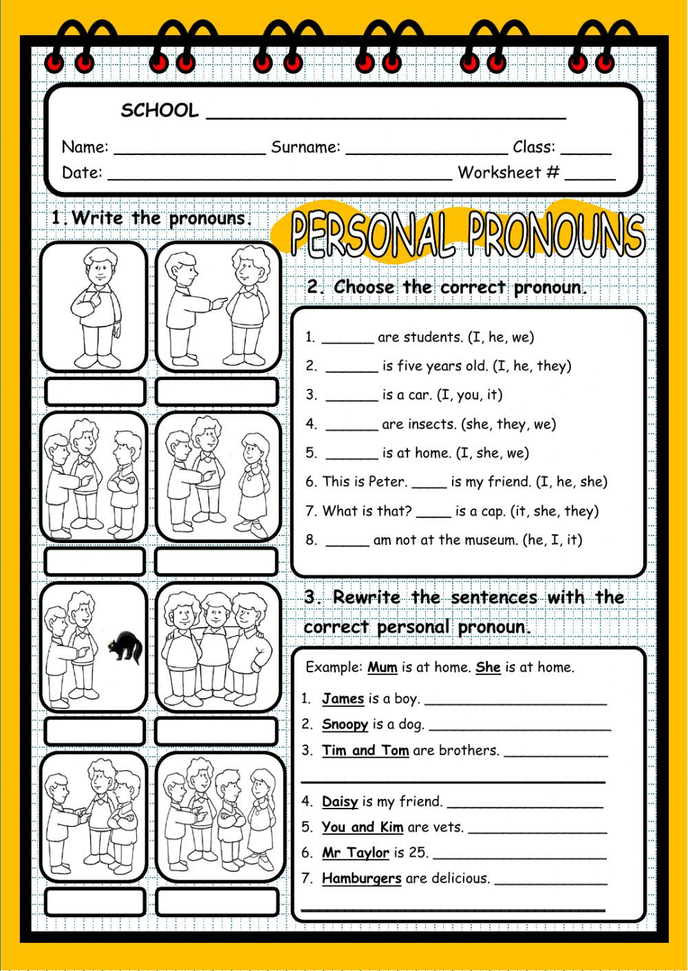 2nd Grade Pronoun Worksheets Personal Pronouns Interactive Worksheet