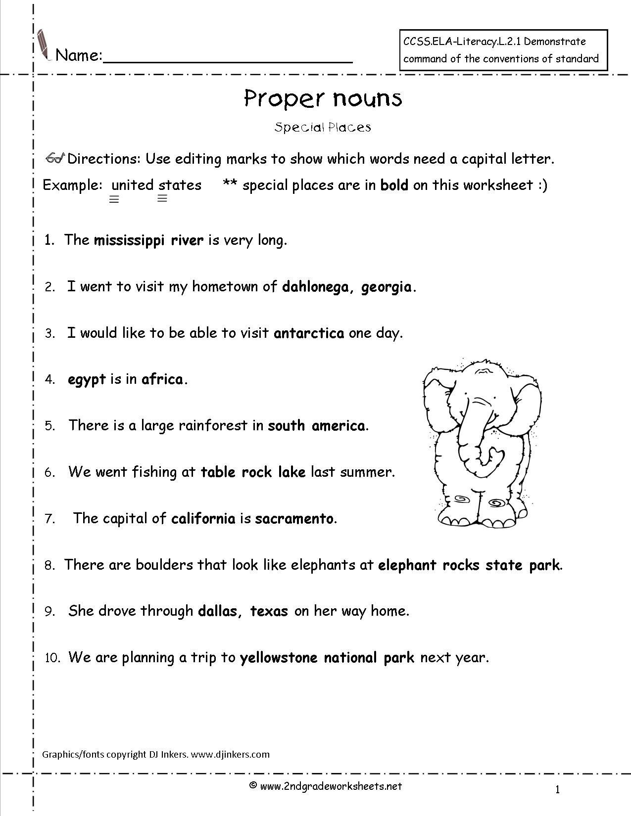 2nd Grade Proper Nouns Worksheet Proper Nouns Worksheet