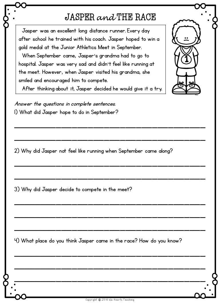 2nd Grade Reading Response Worksheets Second Grade Reading Prehension Passages and Questions