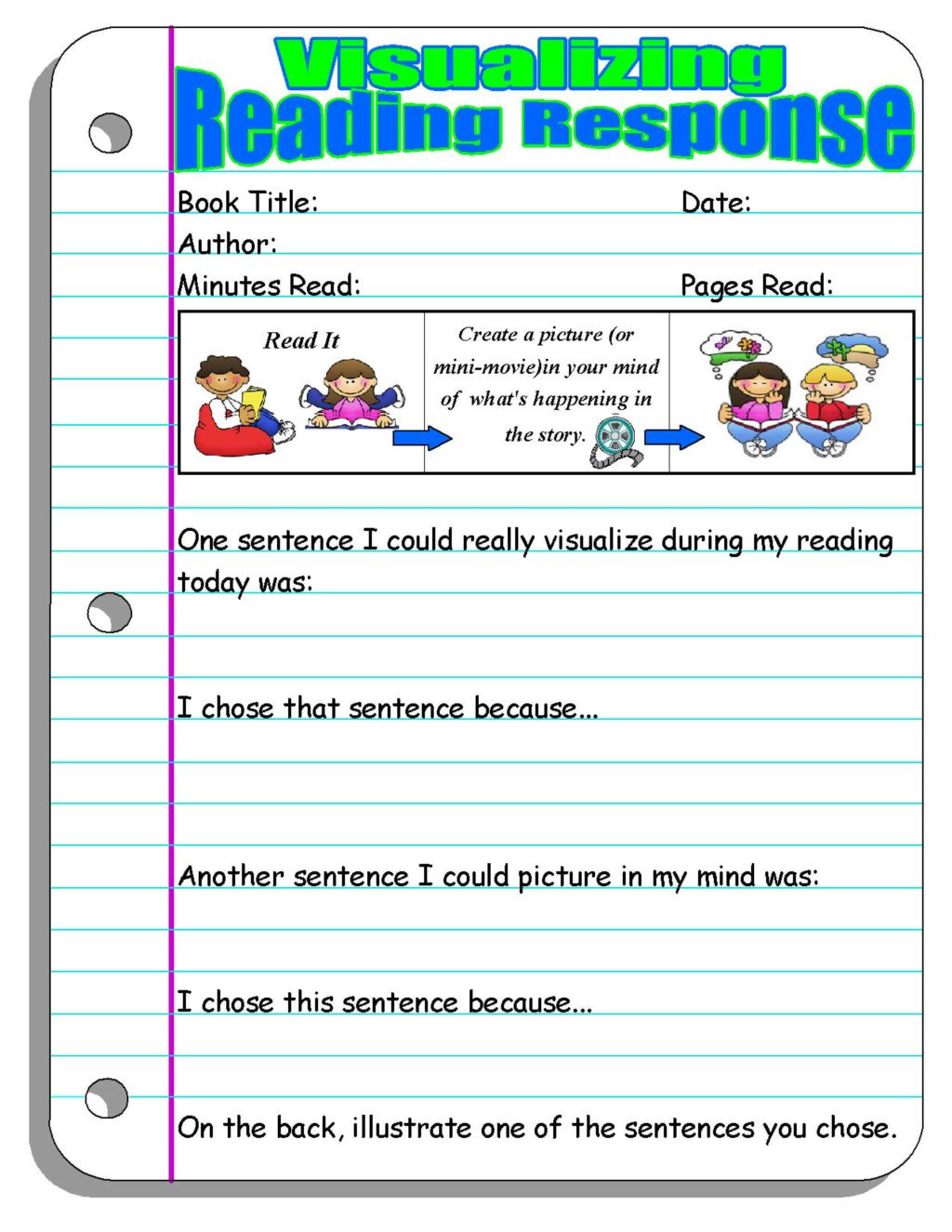 2nd Grade Reading Response Worksheets Worksheet Reading Response Visualizing Prompt Worksheetd