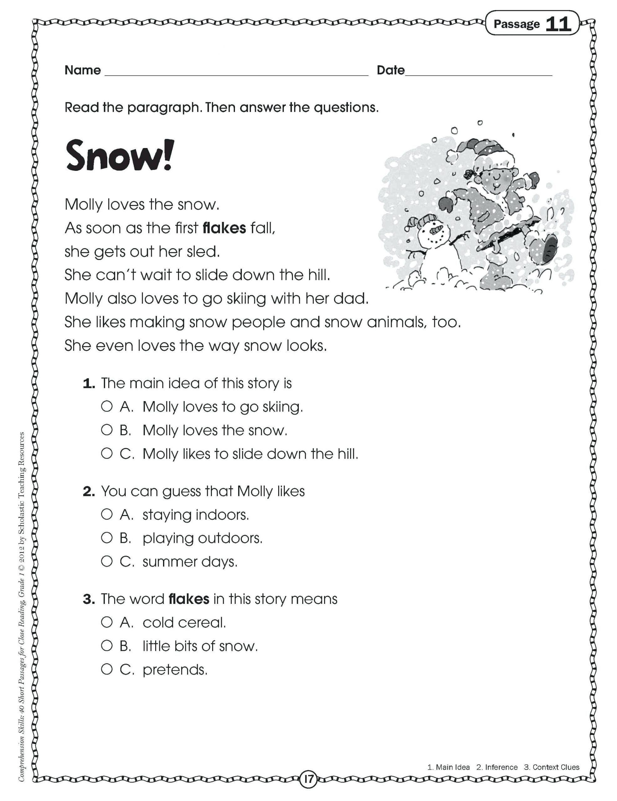 2nd Grade Reading Worksheets Printable Main Idea Worksheets 4th Grade to Printable Math Worksheet