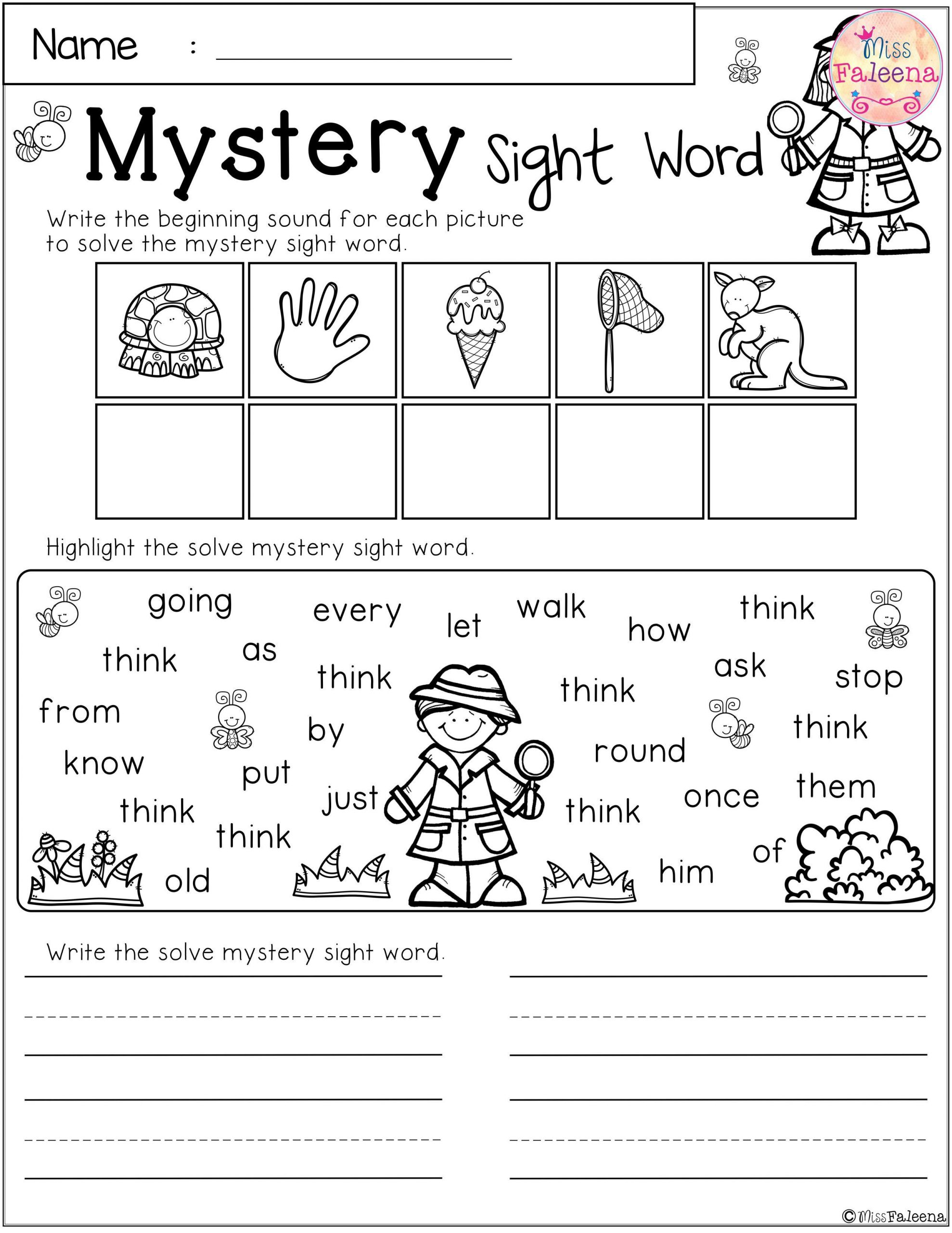 2nd Grade Sight Word Worksheets Free Mystery Sight Word Practice