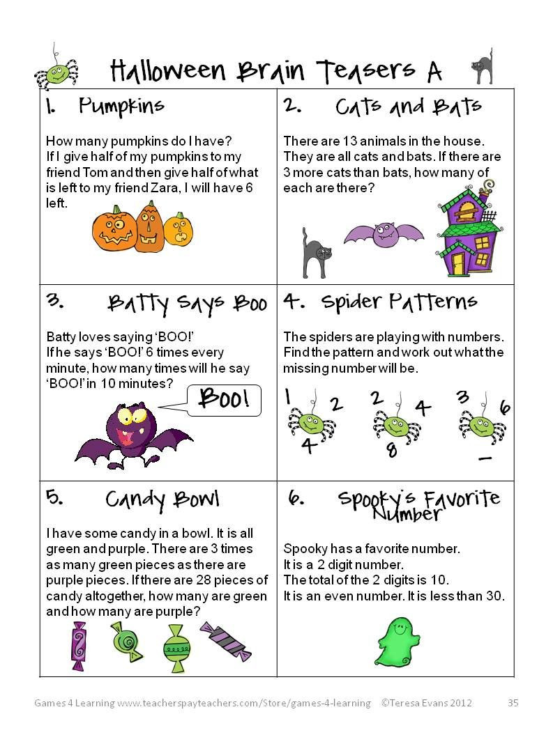 3rd Grade Brain Teasers Worksheets Fun Games 4 Learning Halloween Math Fun