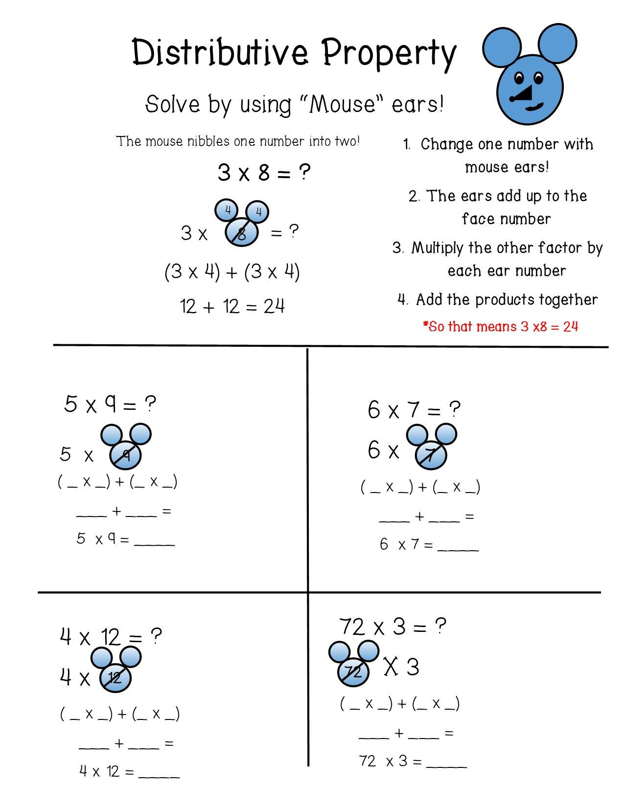 3rd Grade Distributive Property Worksheets the Distributive Property Of Multiplication is Broken Down