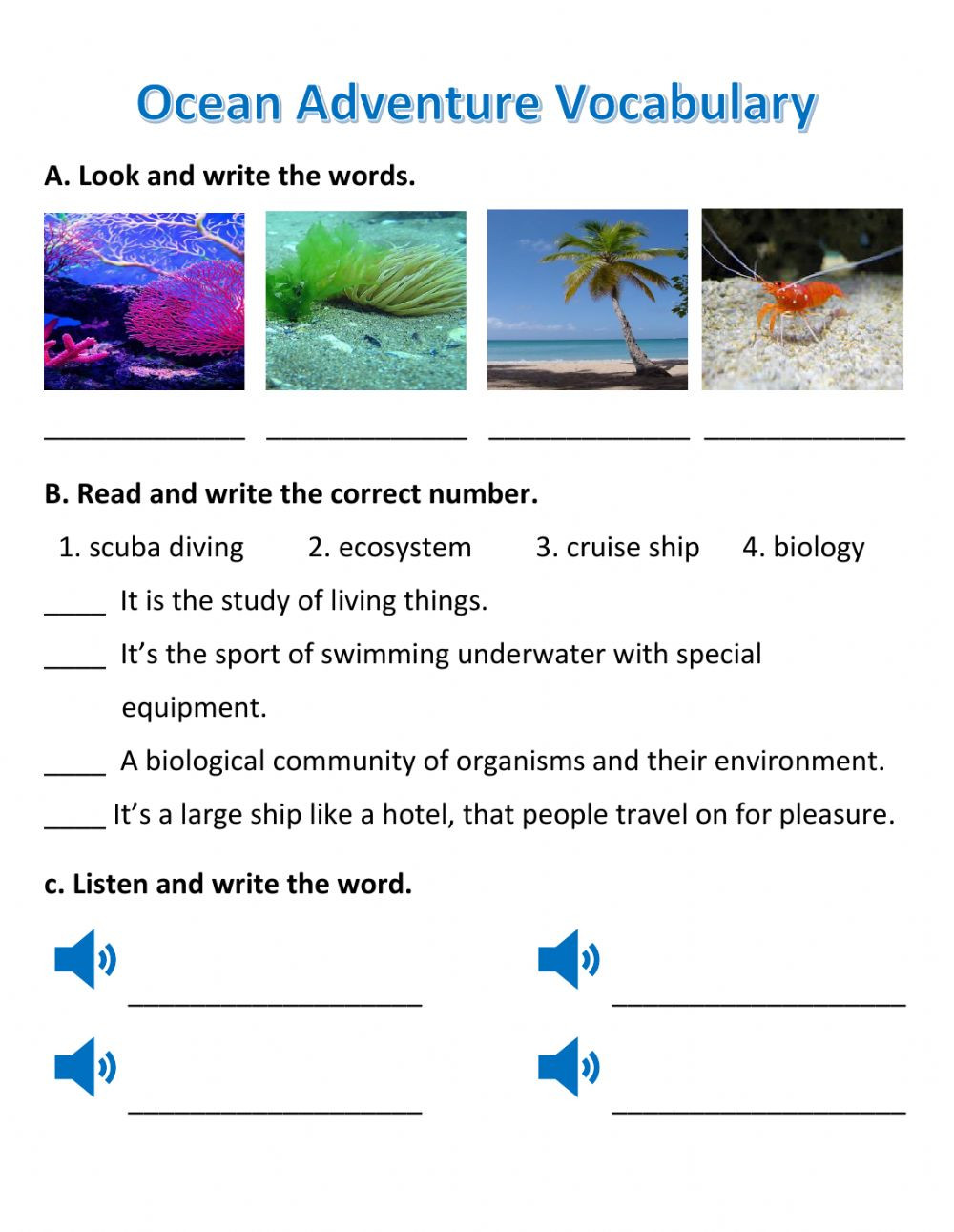 3rd Grade Ecosystem Worksheets Ocean Adventure Interactive Worksheet