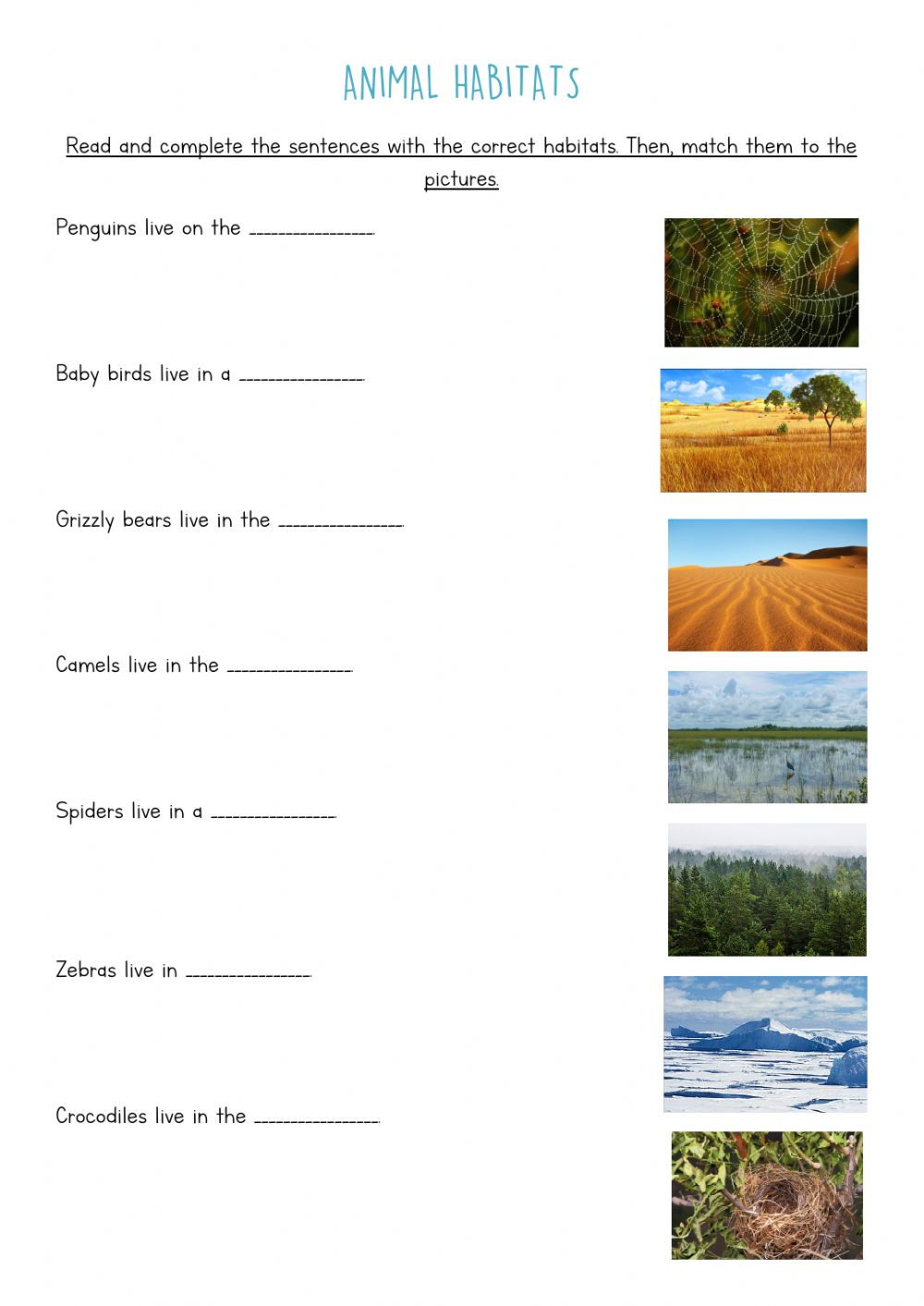 3rd Grade Habitat Worksheets Animal Habitats Plete and Match Interactive Worksheet
