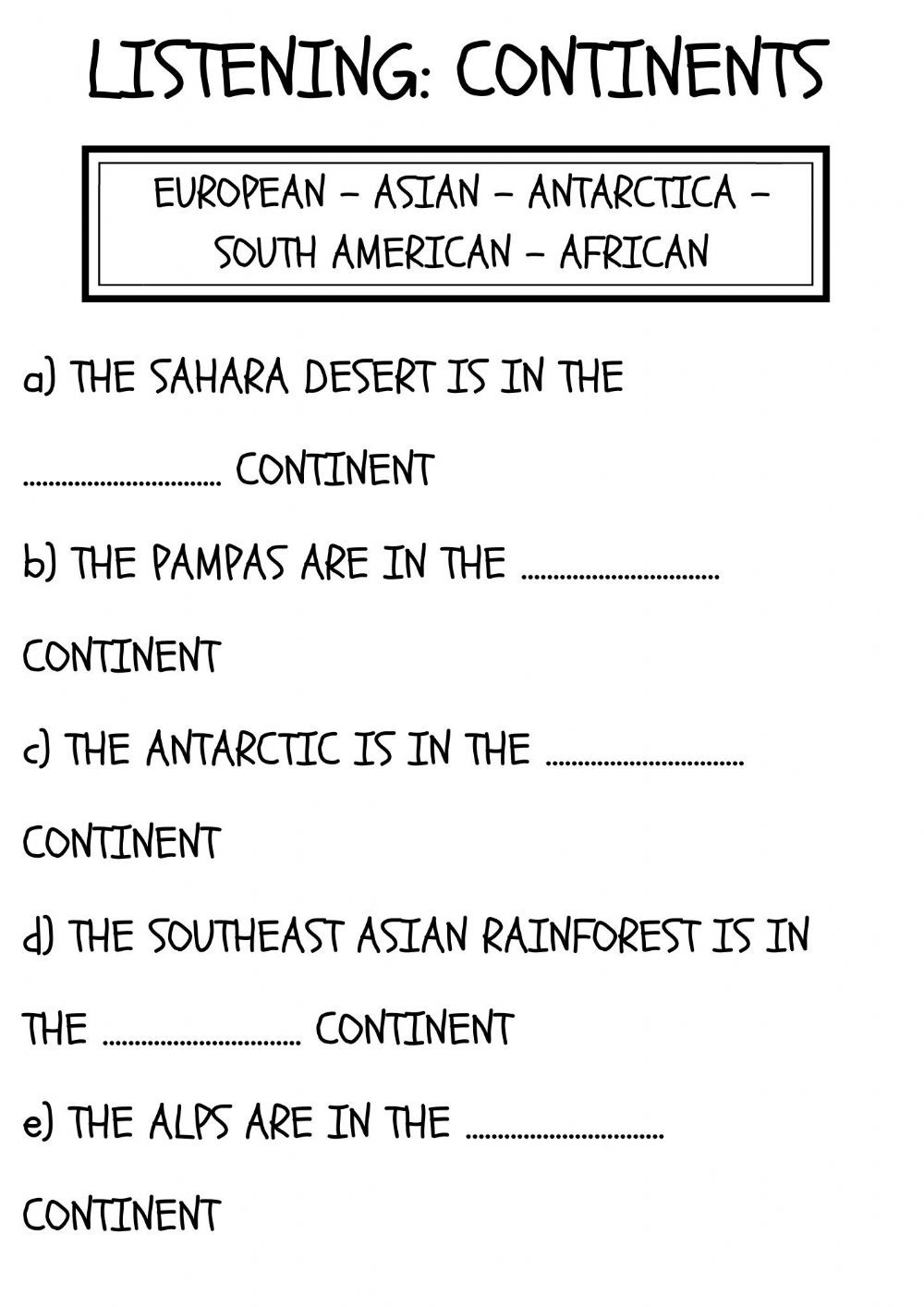3rd Grade Habitat Worksheets Continents and Habitats Interactive Worksheet