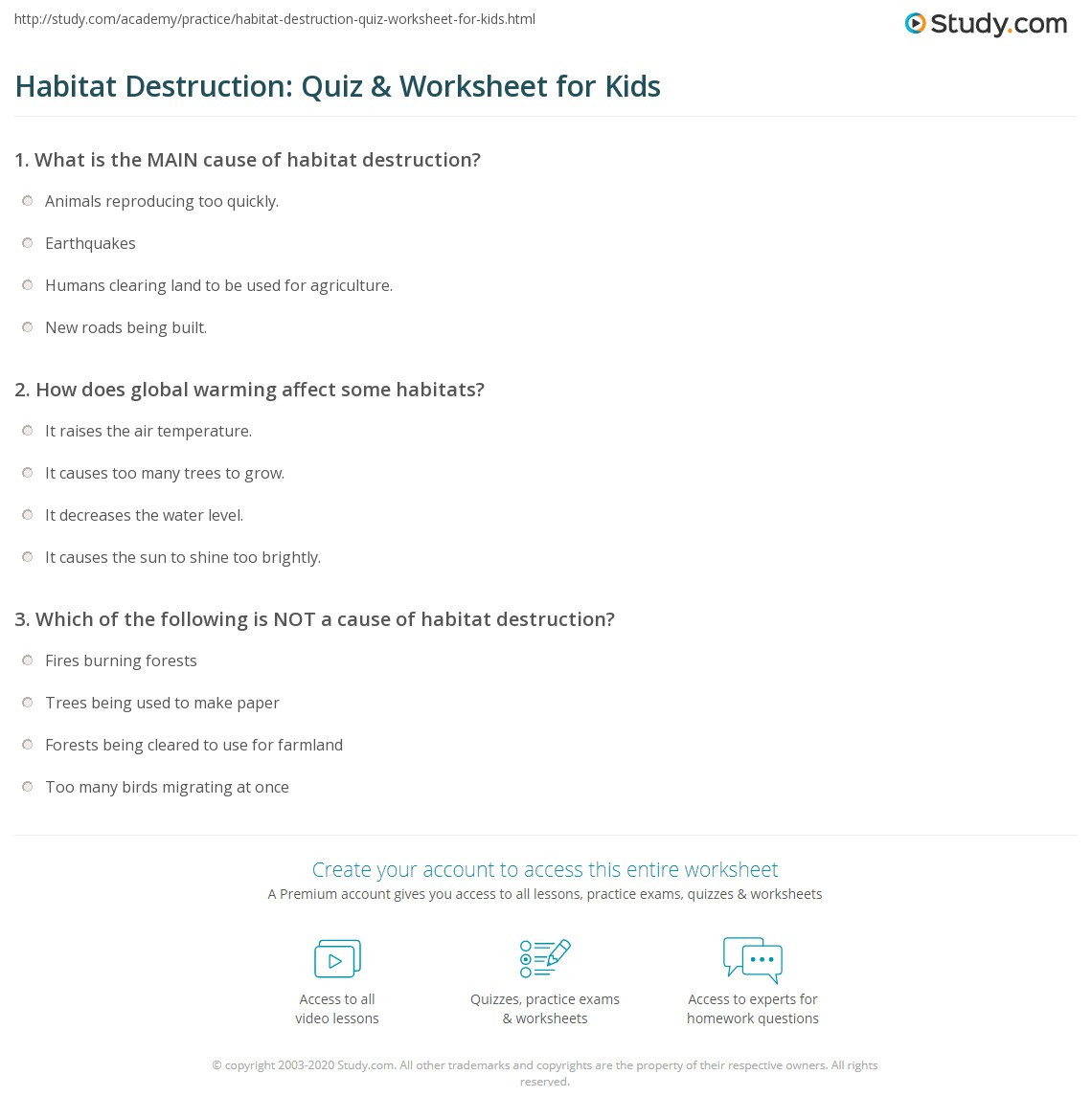 3rd Grade Habitat Worksheets Habitat Destruction Quiz & Worksheet for Kids