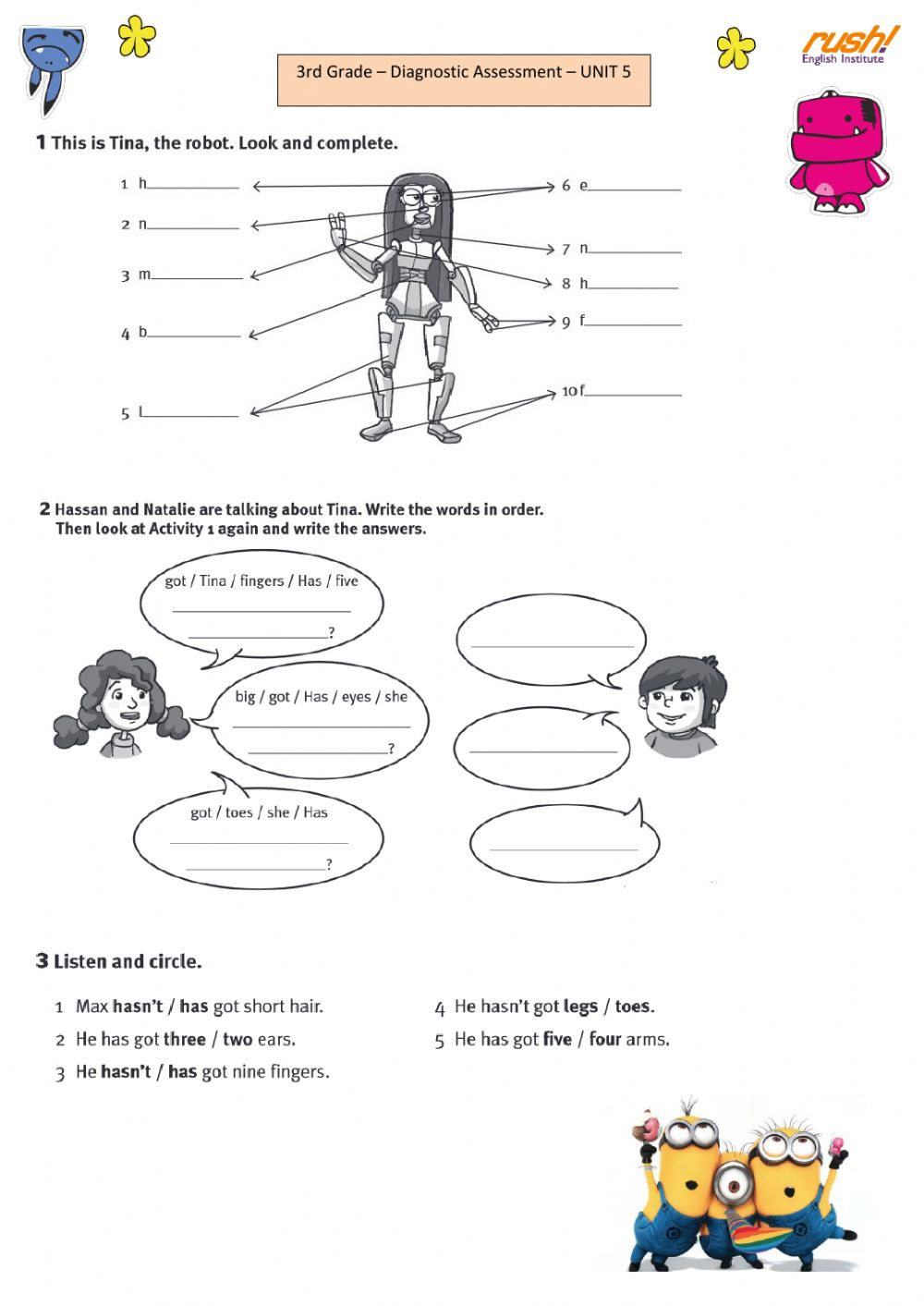 3rd Grade Human Body Worksheets 3rd Grade Diagnostic assessment U5 Interactive Worksheet