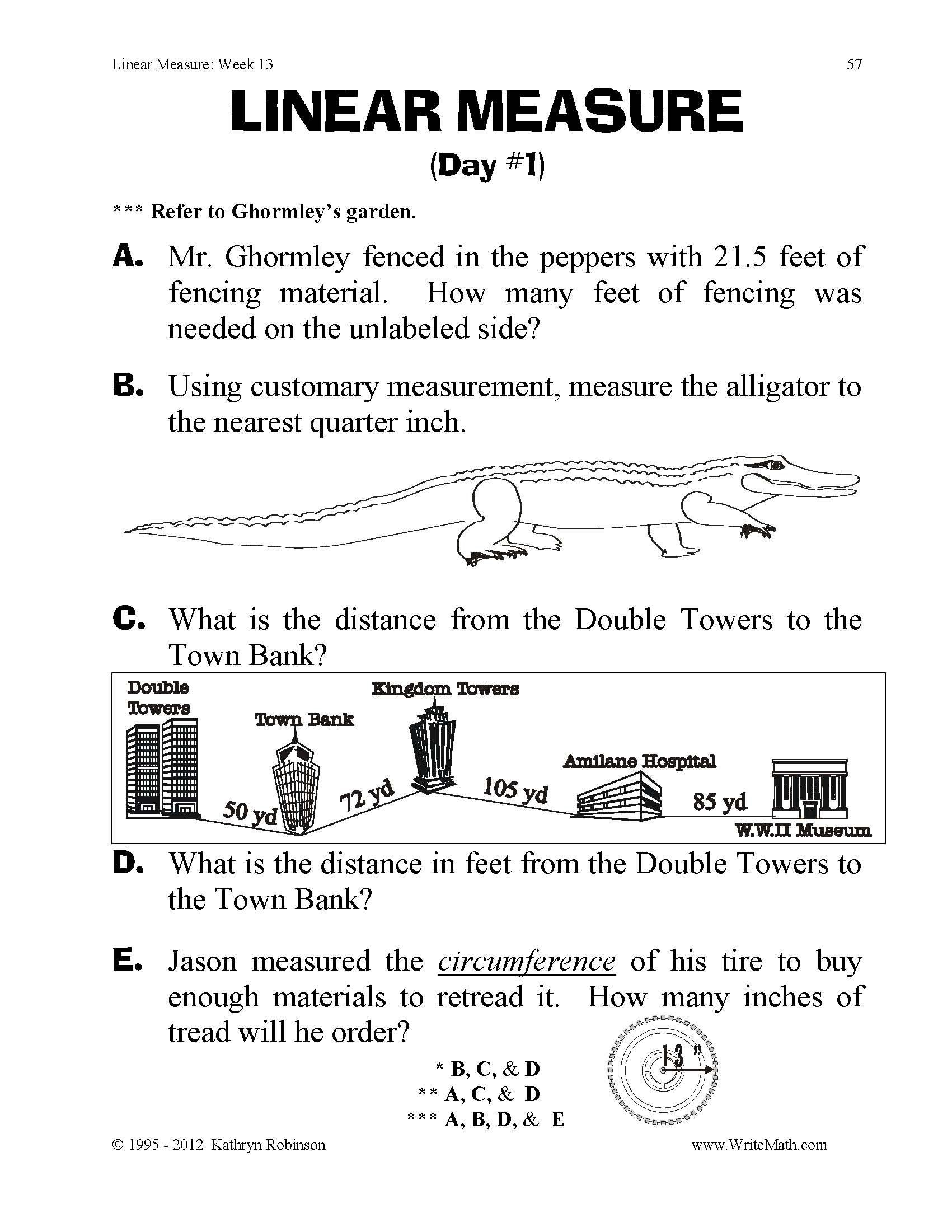 3rd Grade Measurement Worksheet Linear Measure Worksheets