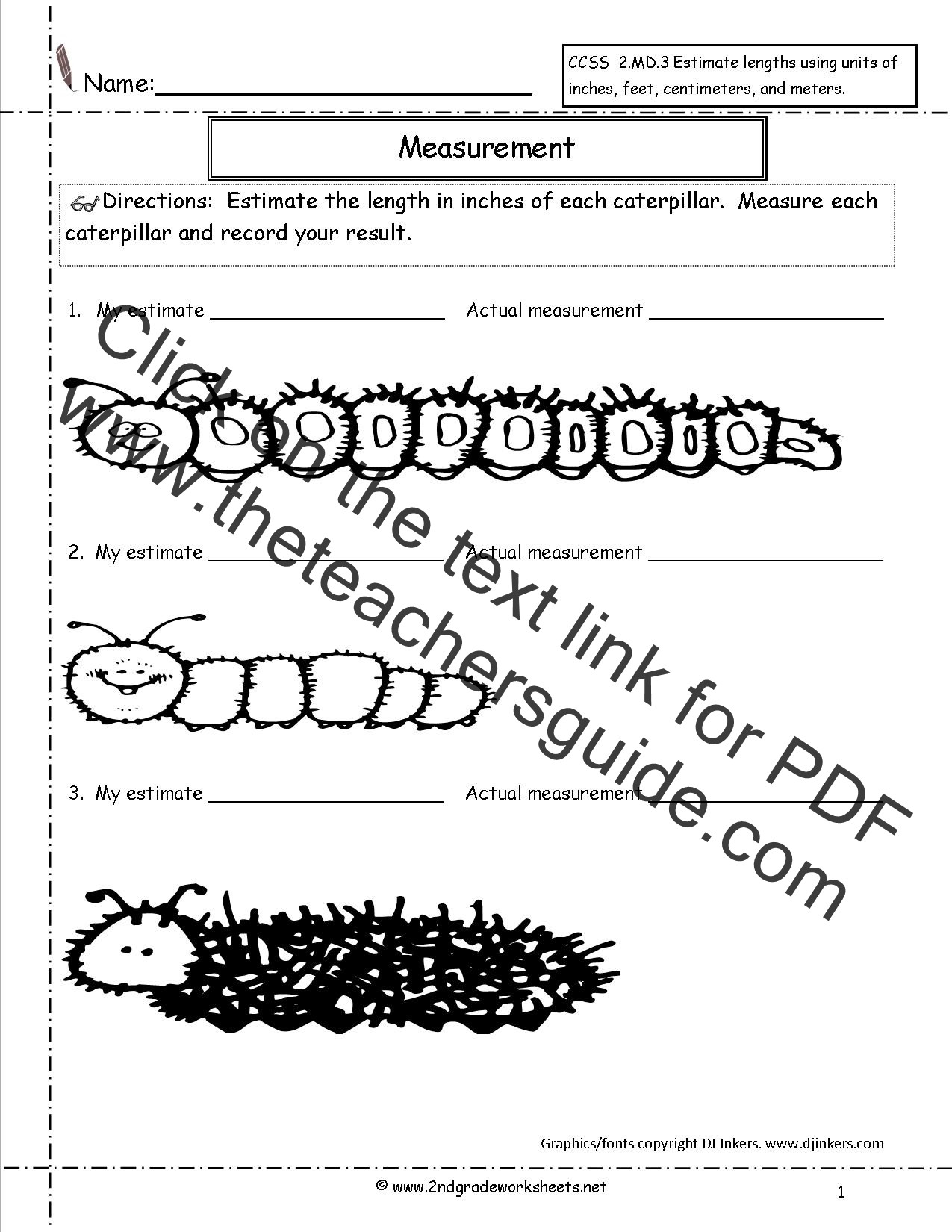 3rd Grade Measurement Worksheet Year 2 Maths Estimation Worksheets