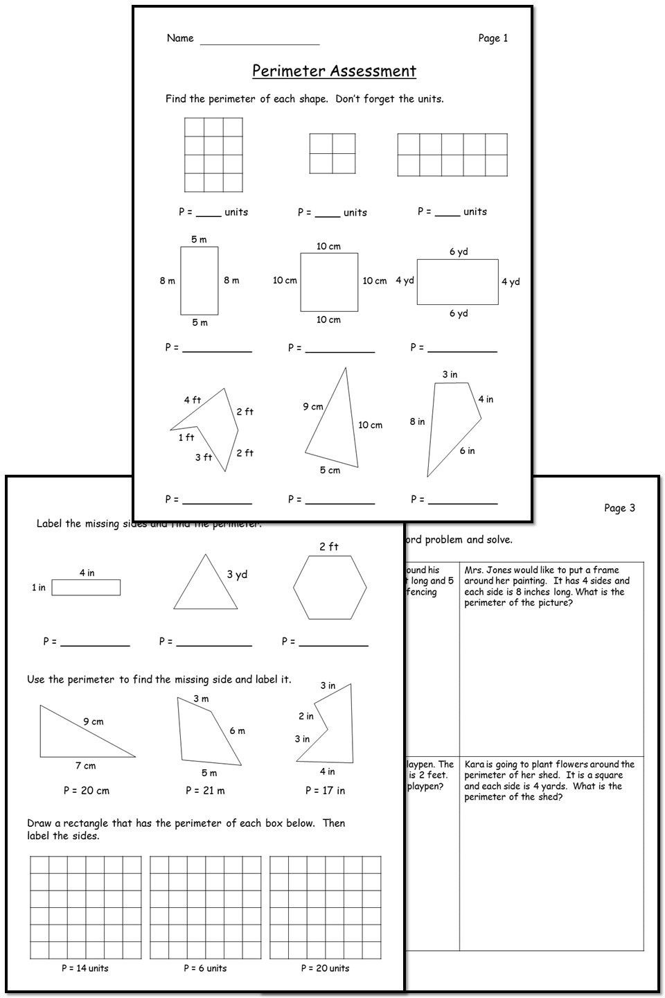 3rd Grade Perimeter Worksheets Perimeter Unit Activities Game Project and assessment In
