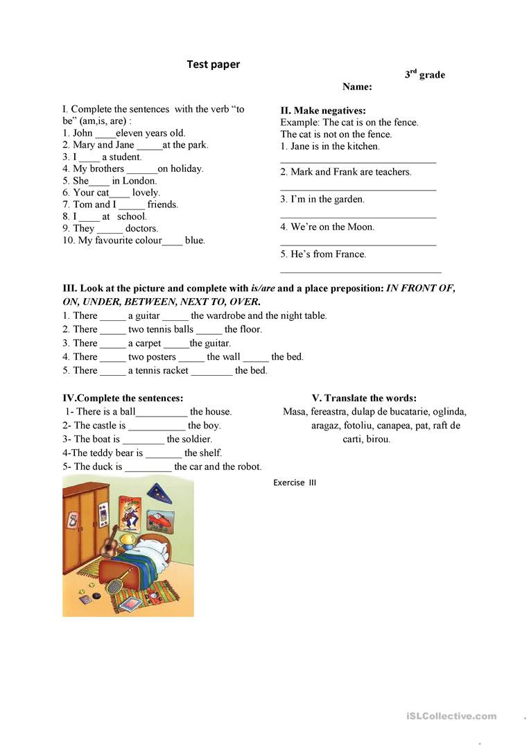 3rd Grade Preposition Worksheets 3rd Grade Test English Esl Worksheets for Distance