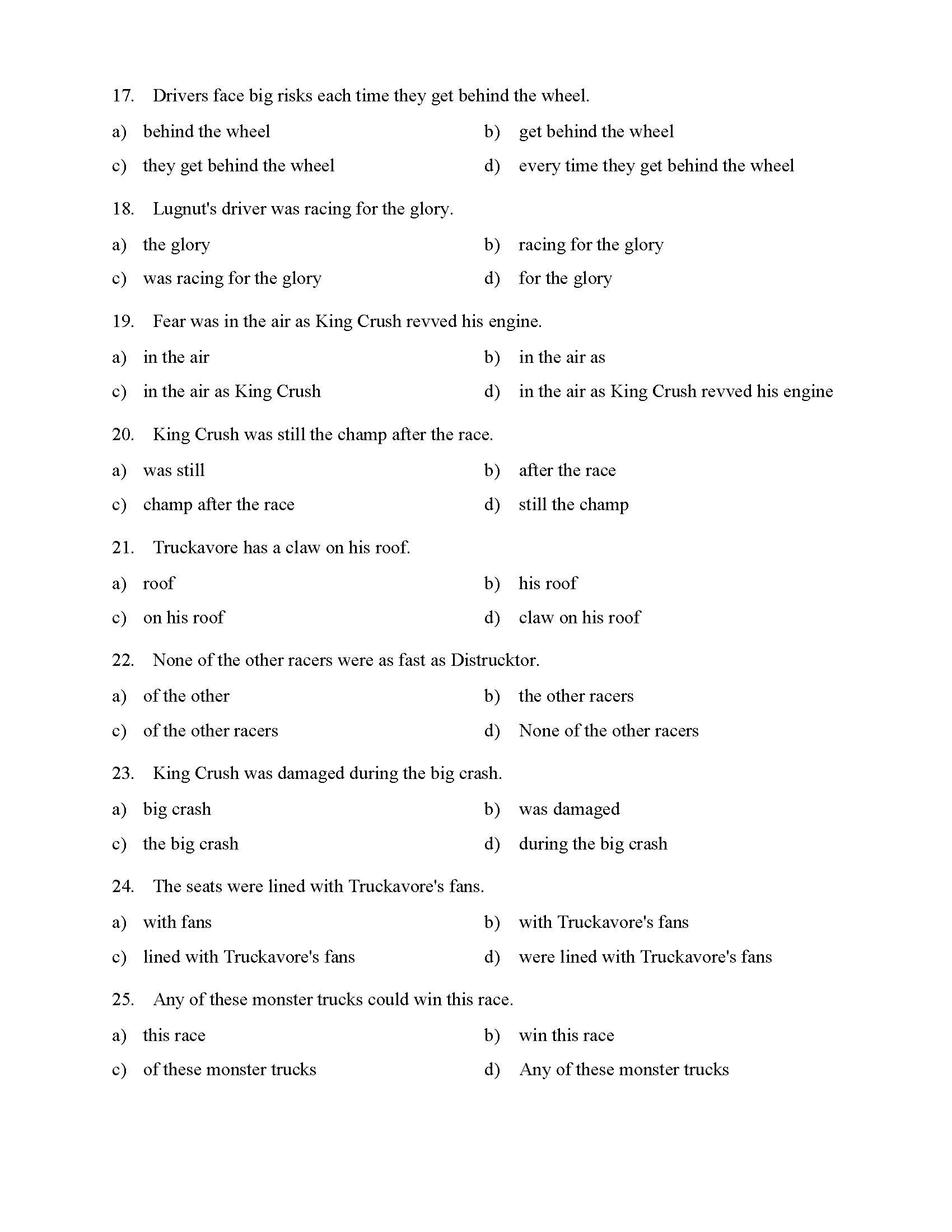 3rd Grade Preposition Worksheets Prepositional Phrases Worksheet 1 Reading Level 1
