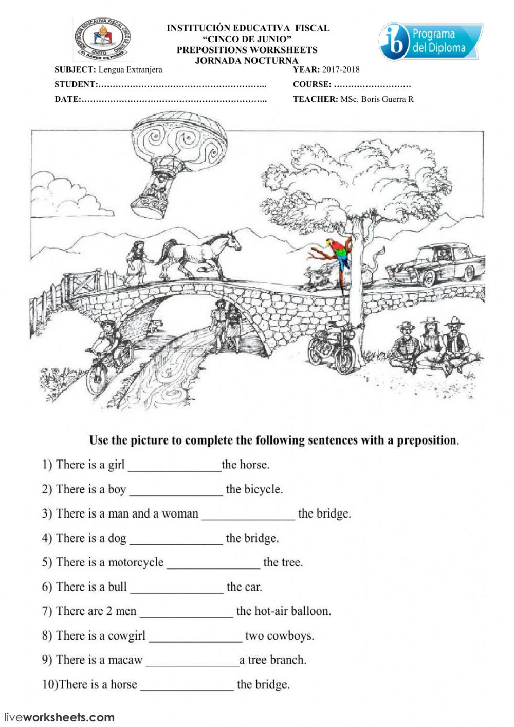 3rd Grade Preposition Worksheets Prepositions Test Interactive Worksheet