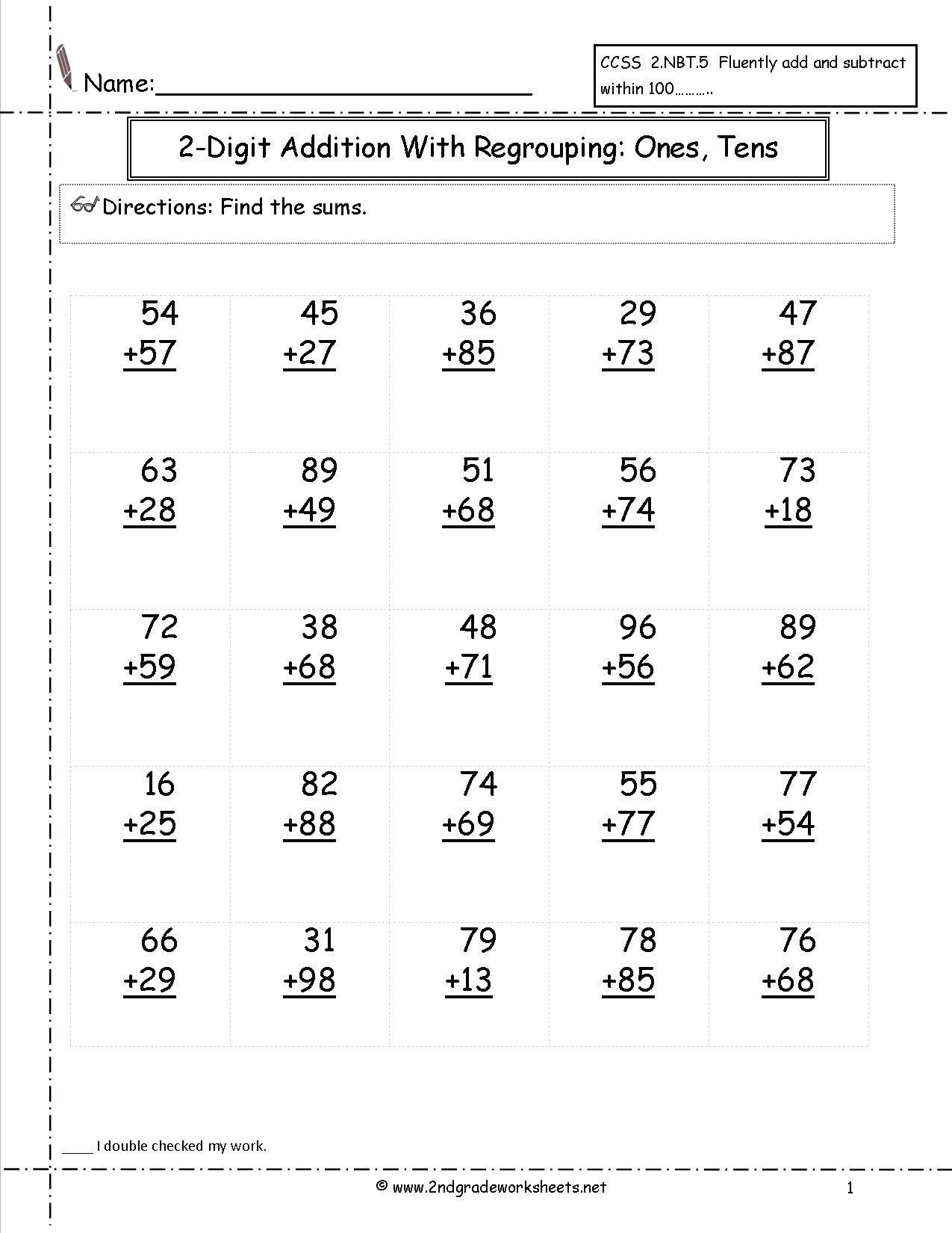 3rd Grade Regrouping Worksheets 4 Free Math Worksheets Third Grade 3 Addition Add 2 Digit
