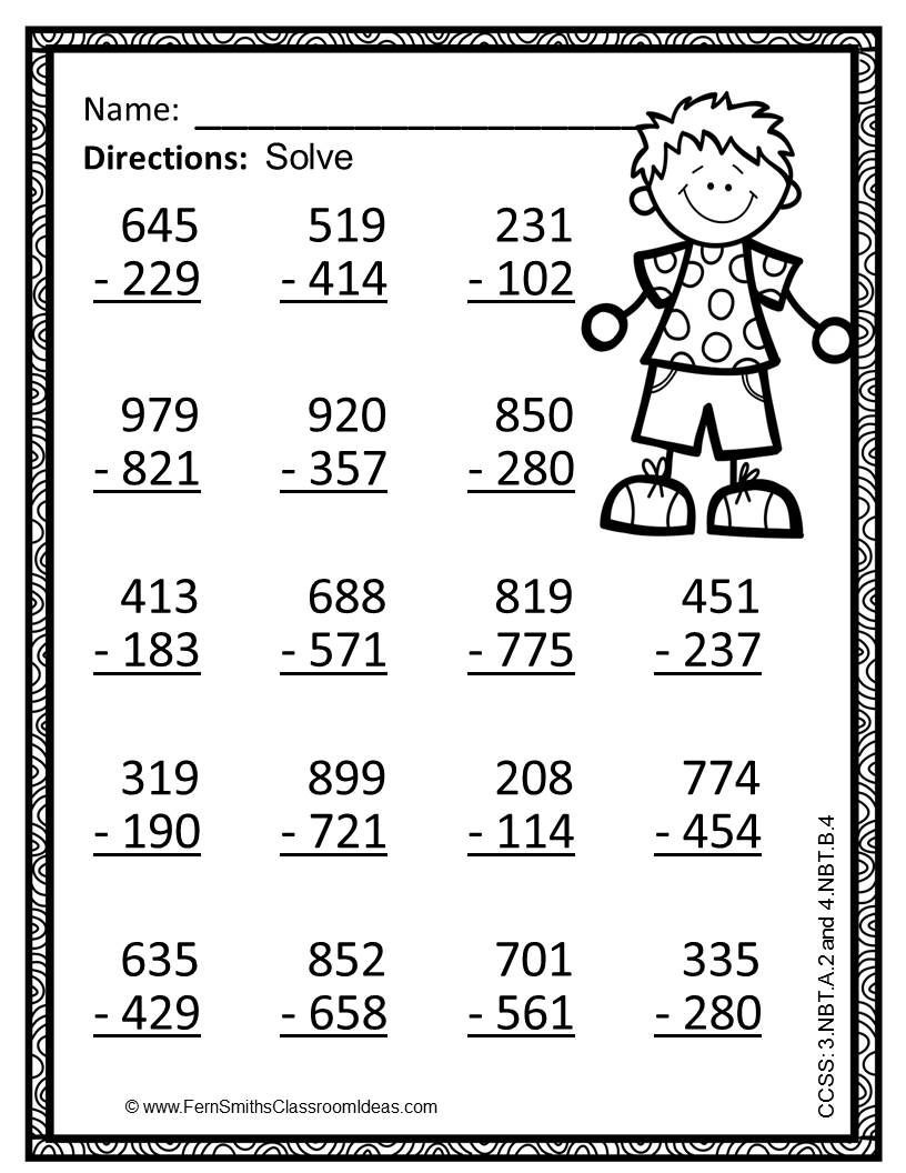 3rd Grade Regrouping Worksheets Math Worksheet 3rd Grade Go Math Use Place Value to