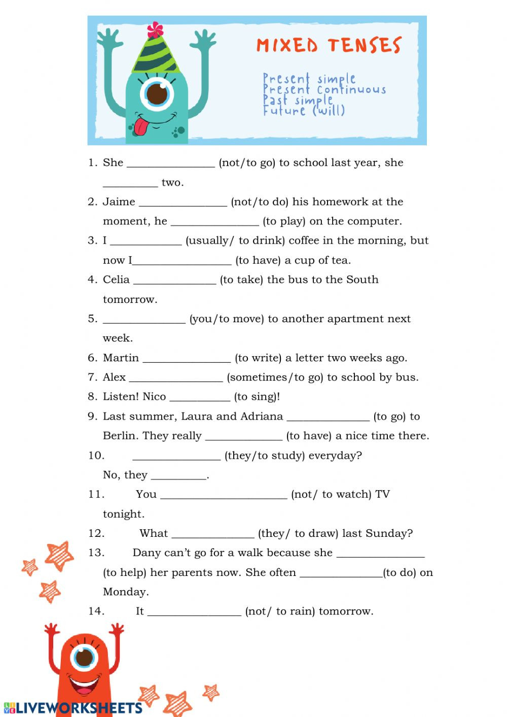 3rd Grade Verb Tense Worksheets Mixed Tenses Verb Tenses Exercise