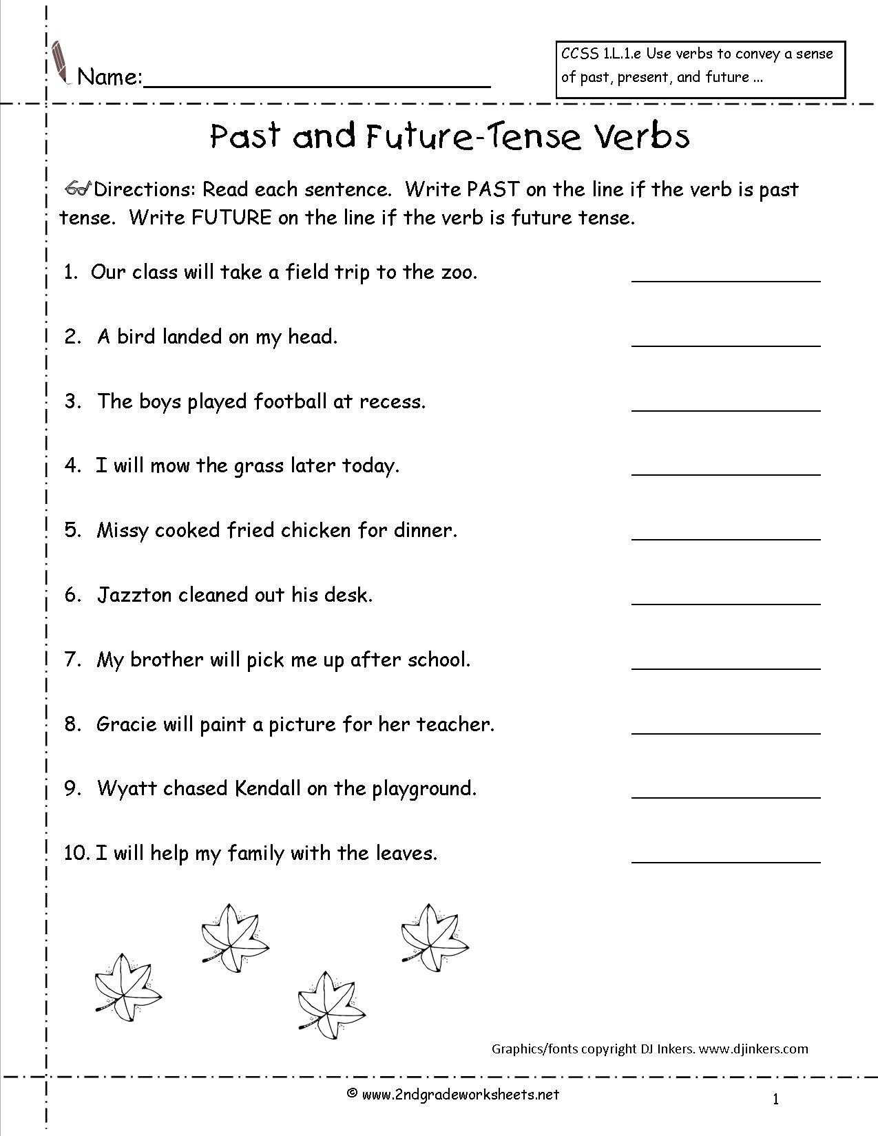 3rd Grade Verb Tense Worksheets Second Grade Verb Worksheets