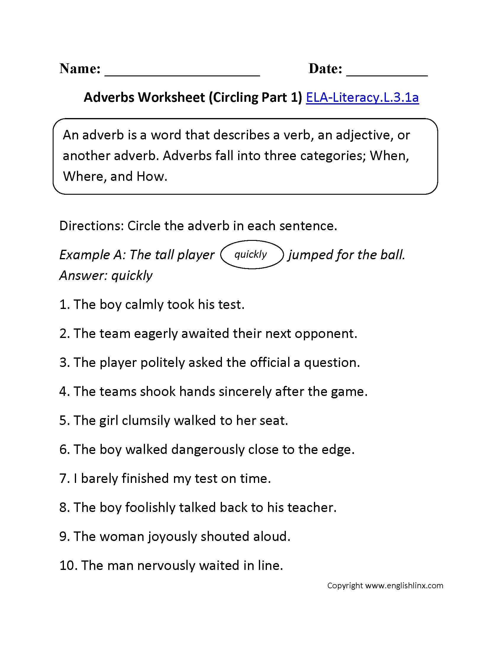 4th Grade Adverb Worksheets 5th Grade Adverb Worksheets to Print