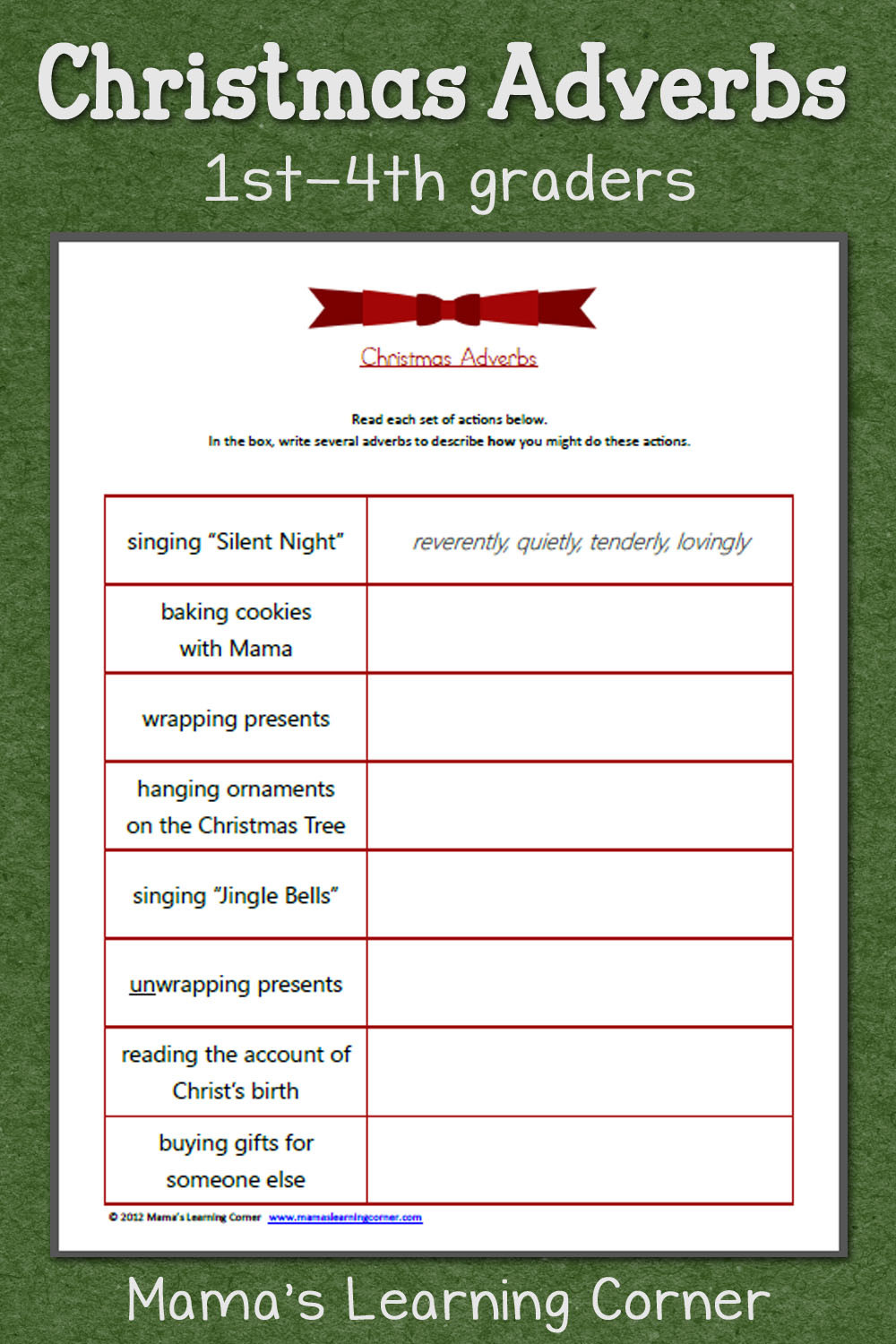 4th Grade Adverb Worksheets Christmas Adverbs Worksheet Mamas Learning Corner