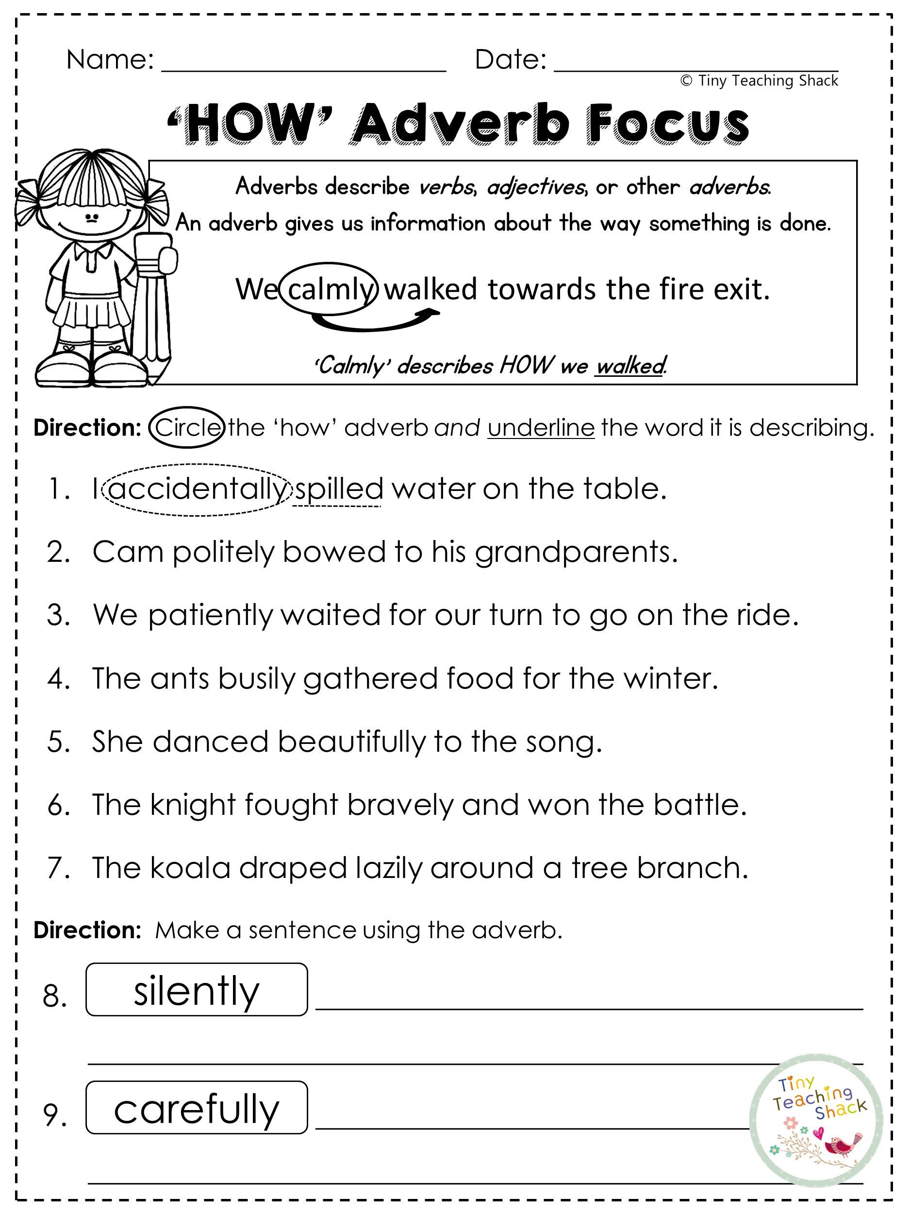 4th Grade Adverb Worksheets Second Grade Grammar Practice Sheets