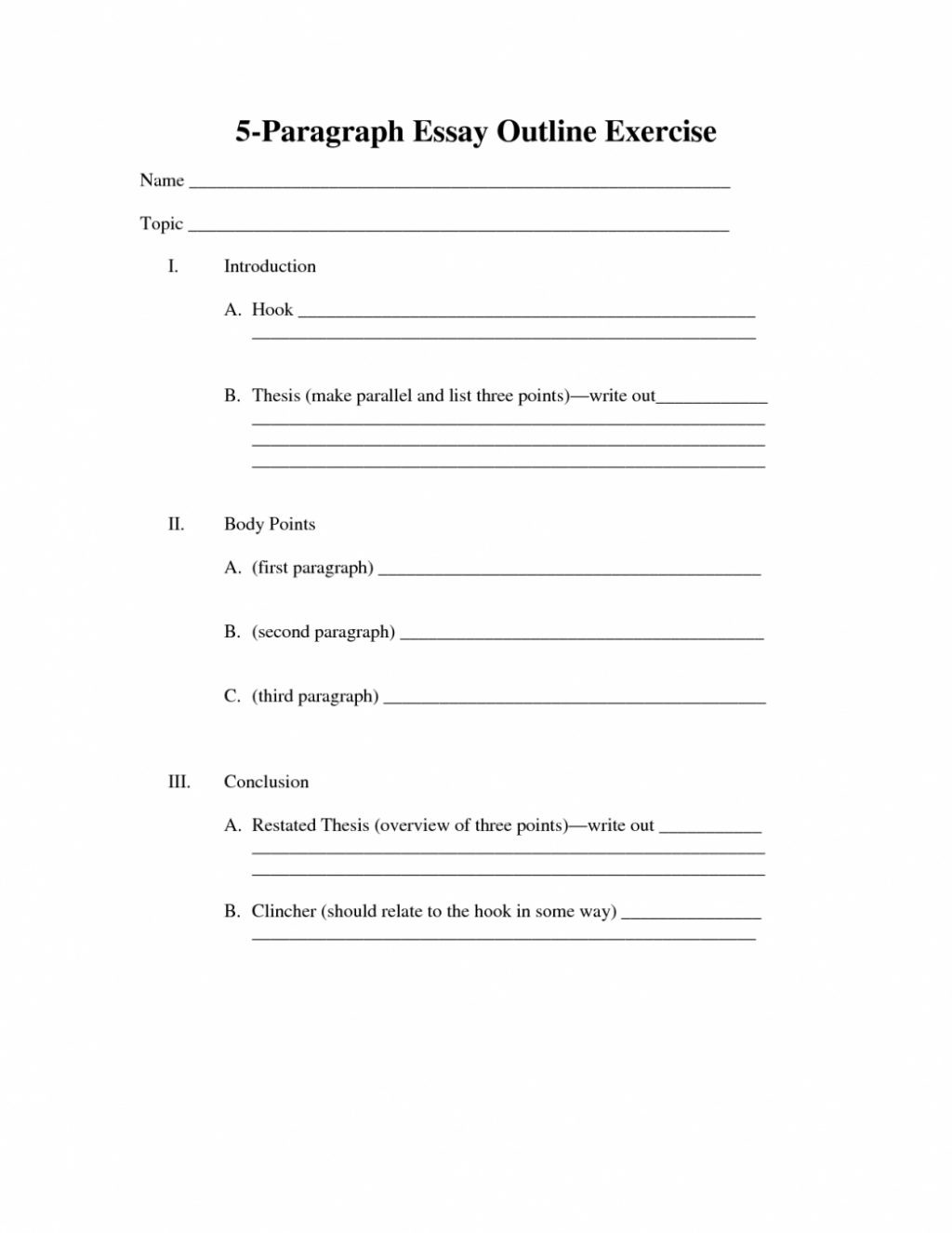 4th Grade Essay Writing Worksheets Outline for Paragraph Essay Writing Five oracleboss within