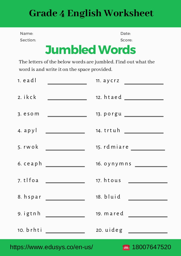 4th grade english grammar worksheet pdf