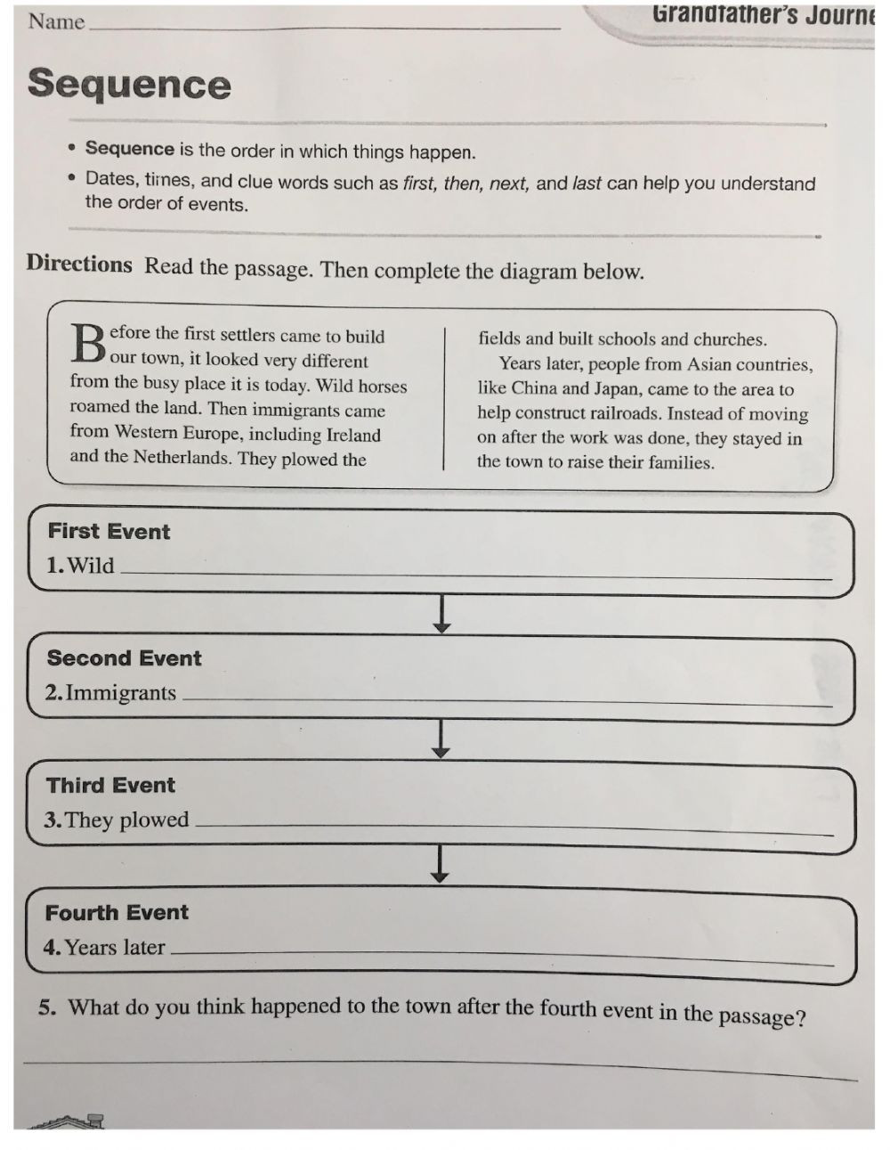 4th Grade Sequencing Worksheets Sequence 4th Grade Interactive Worksheet