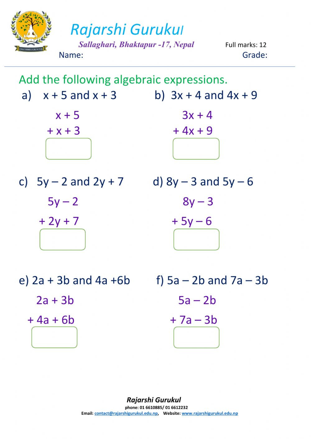 5th Grade Algebraic Expressions Worksheets Addition Of Algebraic Expressions Interactive Worksheet