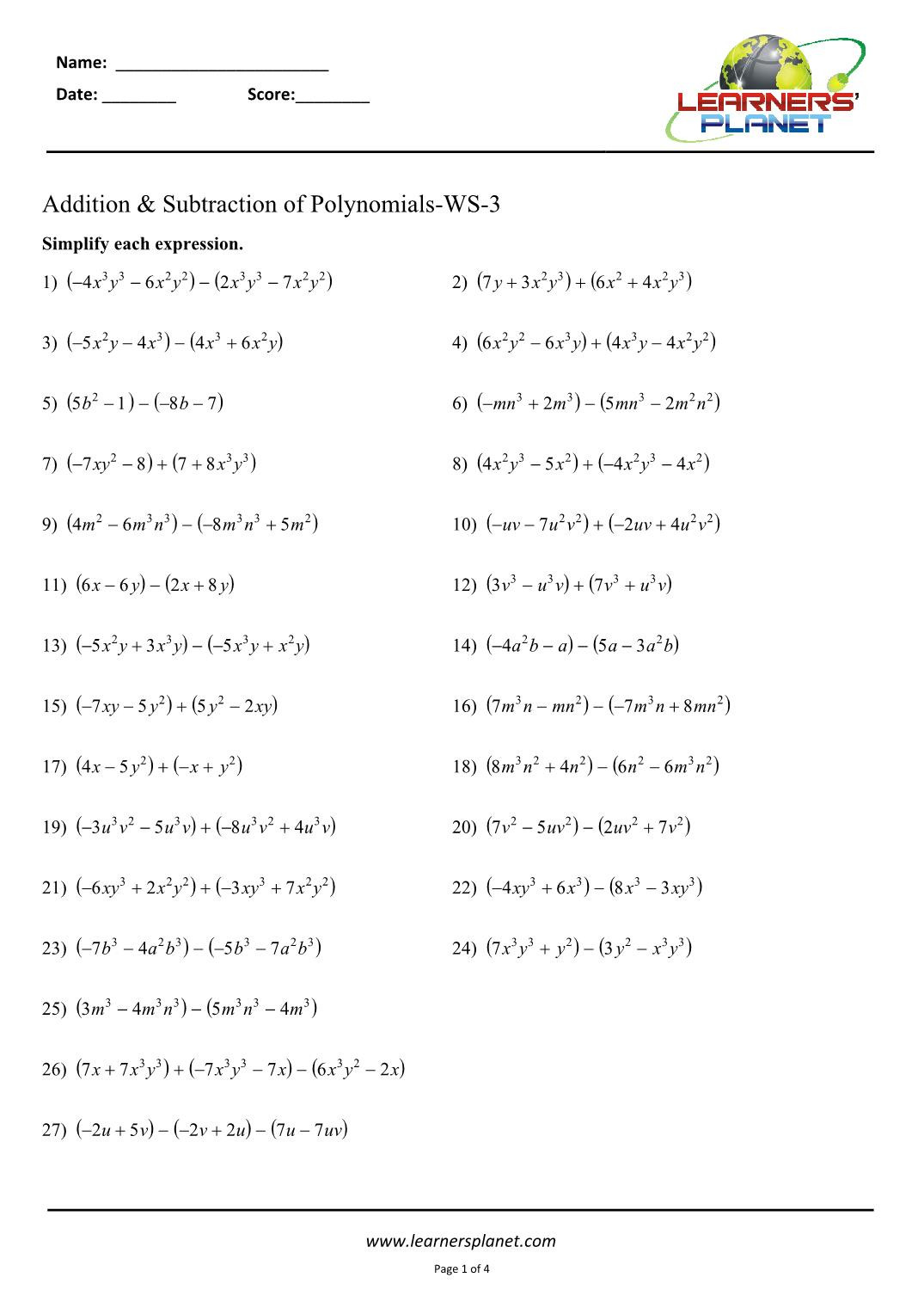 5th Grade Algebraic Expressions Worksheets Algebraic Expressions and Identities Worksheets for Math