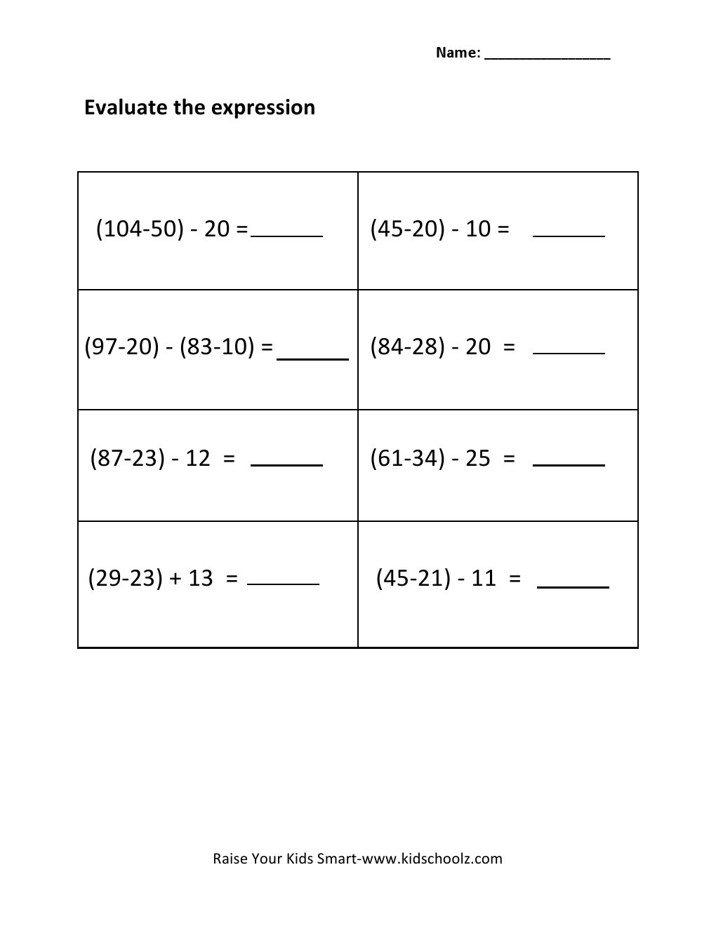 5th Grade Algebraic Expressions Worksheets Grade 3 Evaluating Algebraic Expressions Worksheet 3