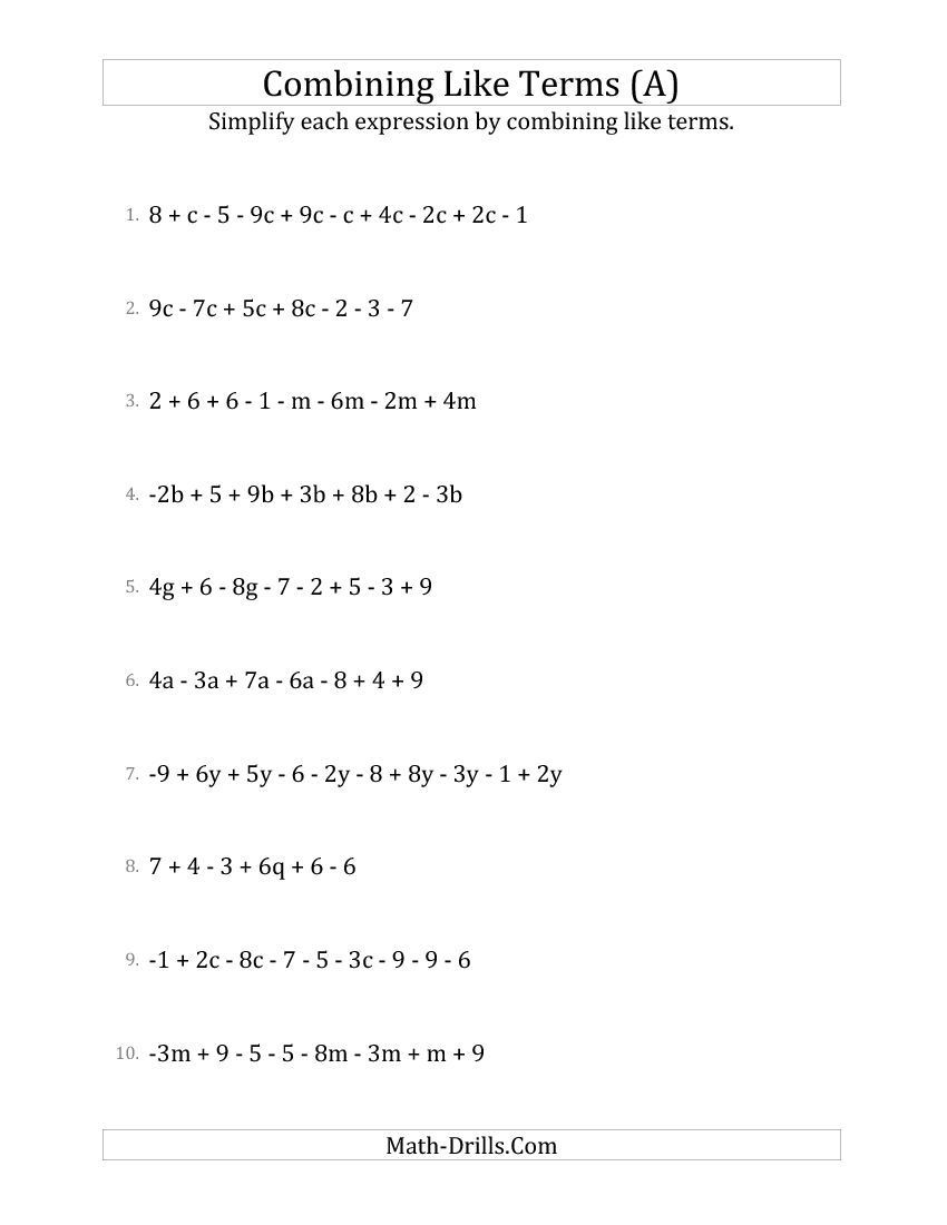 5th Grade Algebraic Expressions Worksheets New Simplifying Linear Expressions with to Terms Math Grade