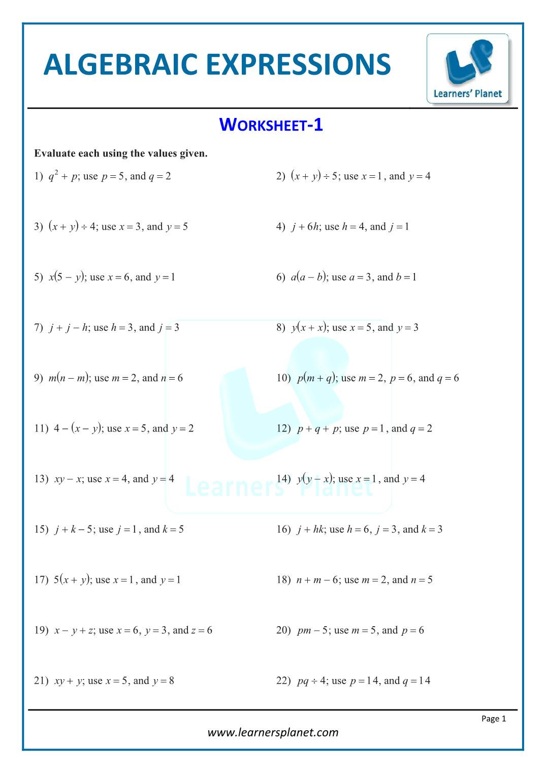 5th Grade Algebraic Expressions Worksheets Printable Worksheets Algebraic Expressions 7th Cbse Math