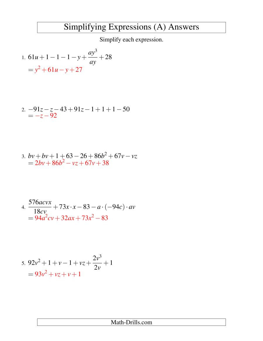 5th Grade Algebraic Expressions Worksheets Simplifying Algebraic Expressions Worksheet Answers Nidecmege