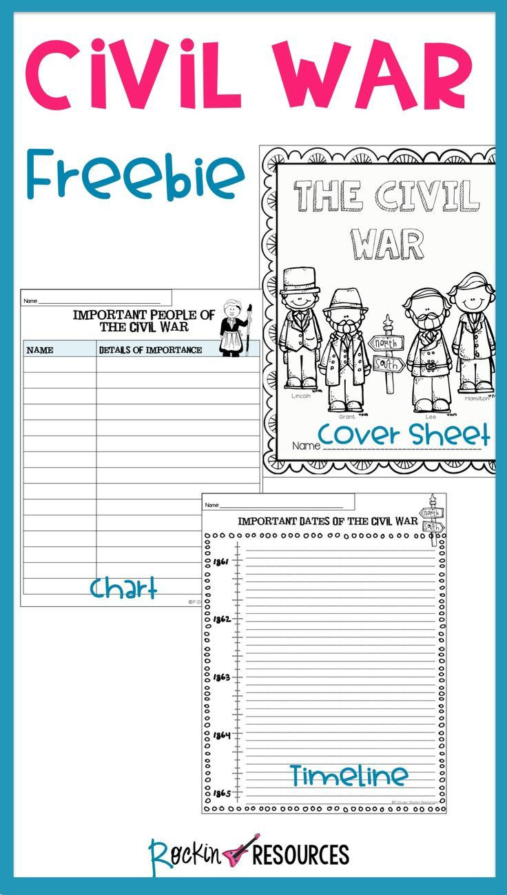 5th Grade History Worksheets Civil War Timeline Cover Page and Chart Free