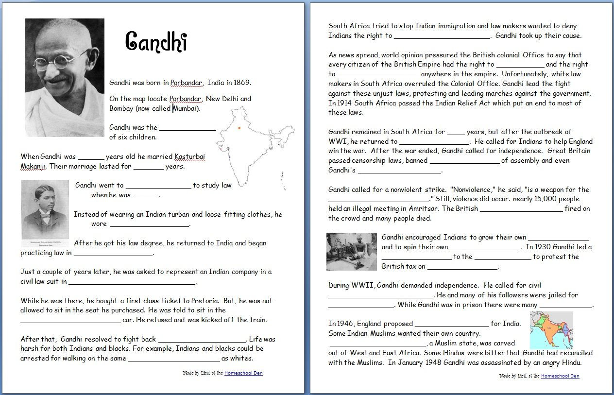 5th Grade History Worksheets Gandhi Free Worksheets Notebook Pages Homeschool Den
