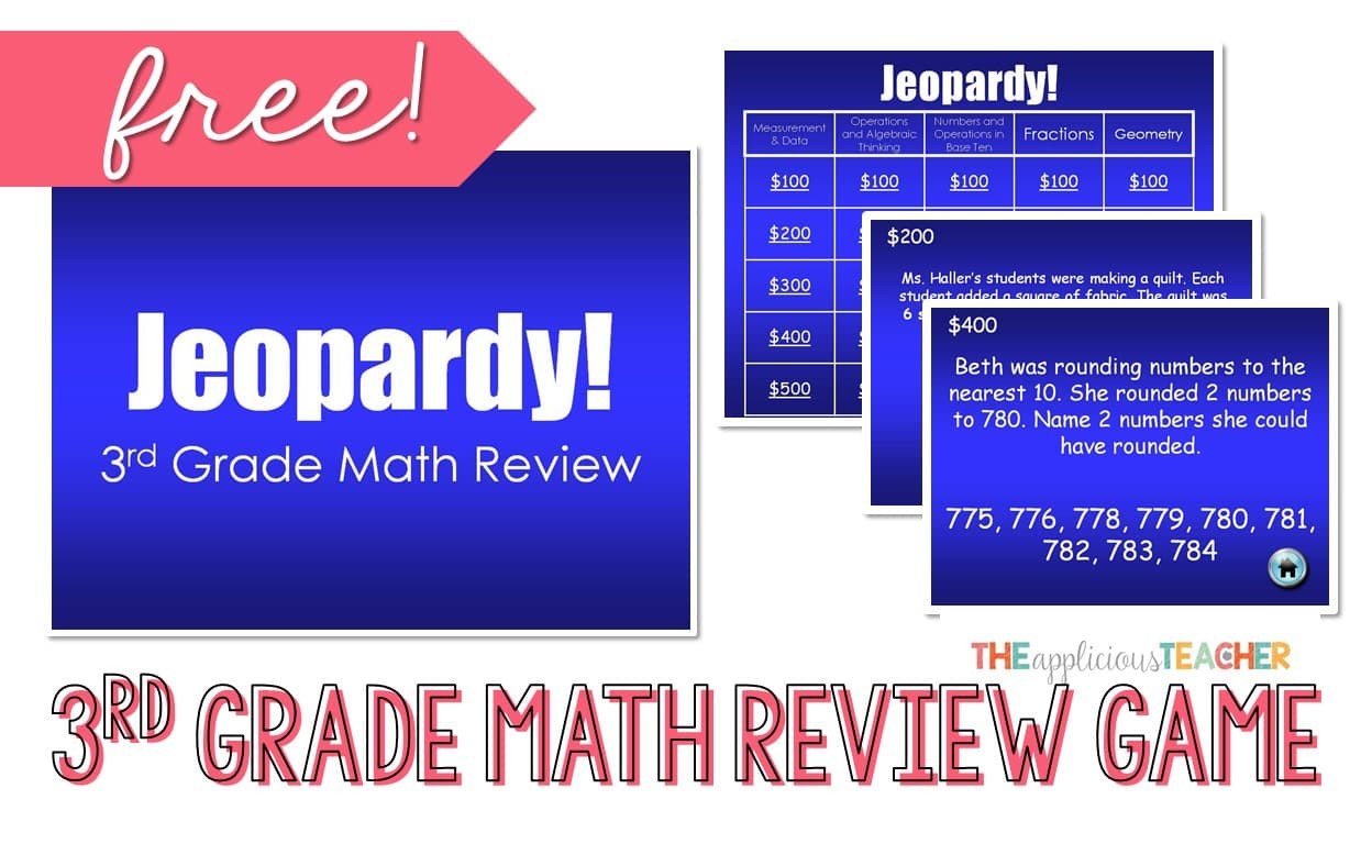 5th Grade Jeopardy Math 3rd Grade Math Review Jeopardy Powerpoint Freebie the
