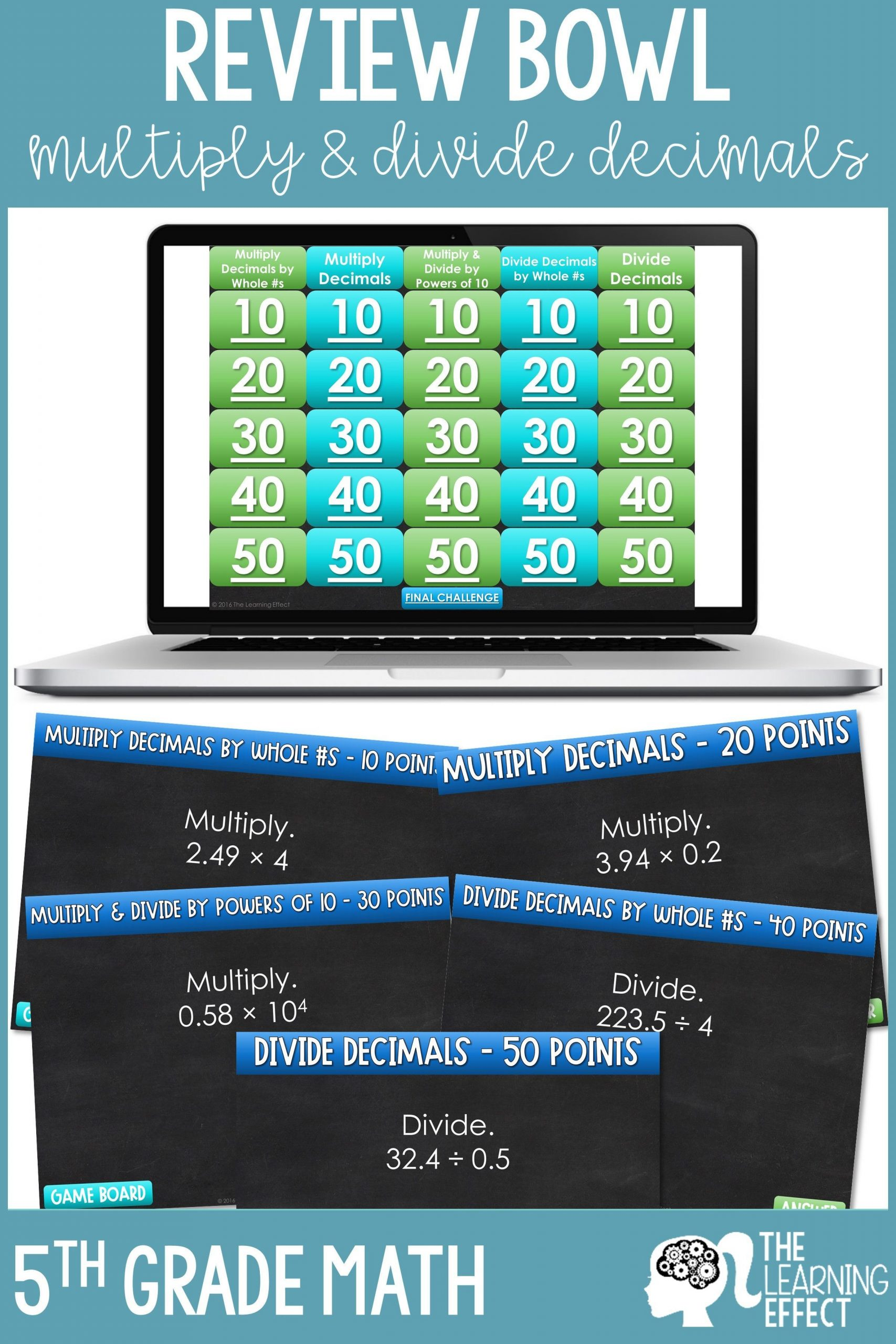 5th Grade Jeopardy Math Multiply and Divide Decimals Game Show