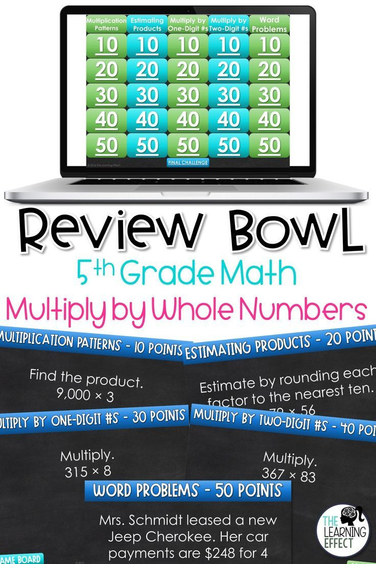 5th Grade Jeopardy Math Multiply by whole Numbers Game Show