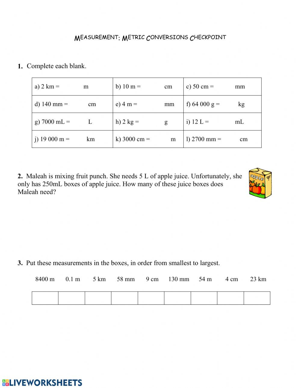5th Grade Metric Conversion Worksheets Metric Conversions Quiz Interactive Worksheet